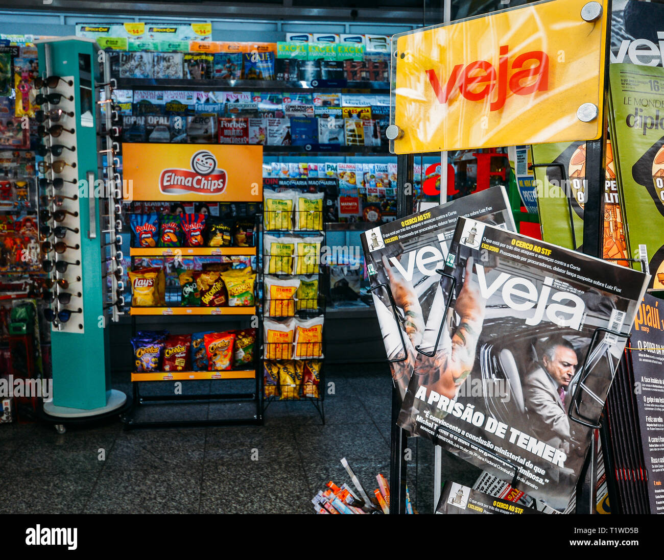 Rio de Janeiro, Brazil - March 27, 2018: Illustrative editorial of cover of VEJA Magazine with news of former President Michael Temer being arrested - Stock Image