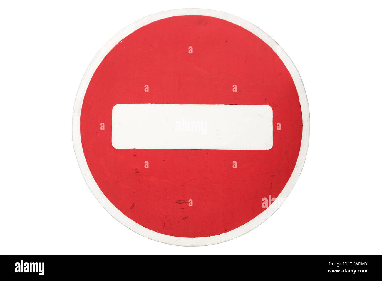 Road sign 'No entry' isolated on white. - Stock Image