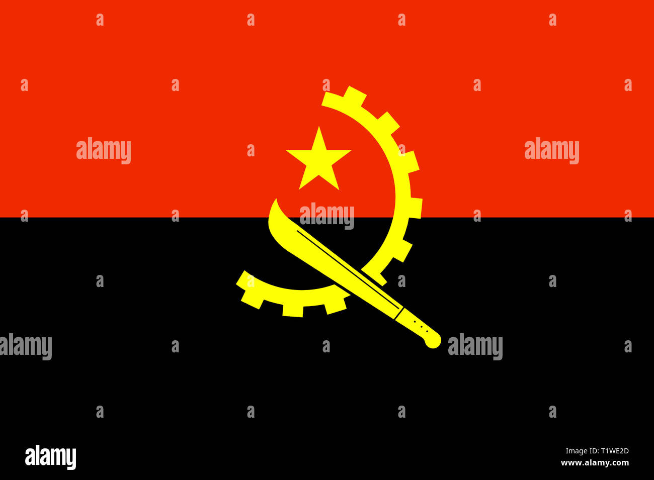 Republic of Angola in southern Africa national flag - Stock Image