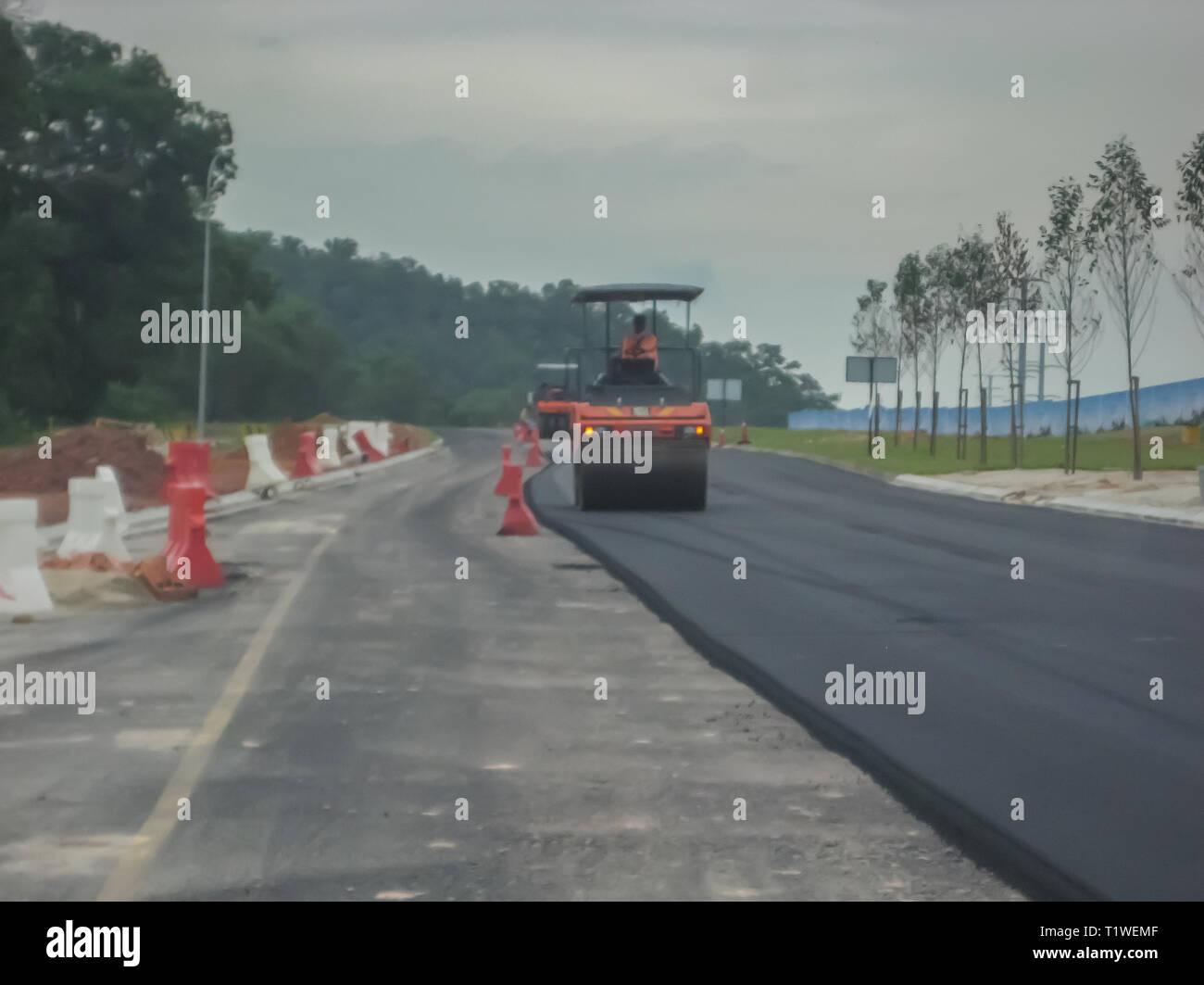 Road development in Iskandar Puteri, Johor, Malaysia - Stock Image