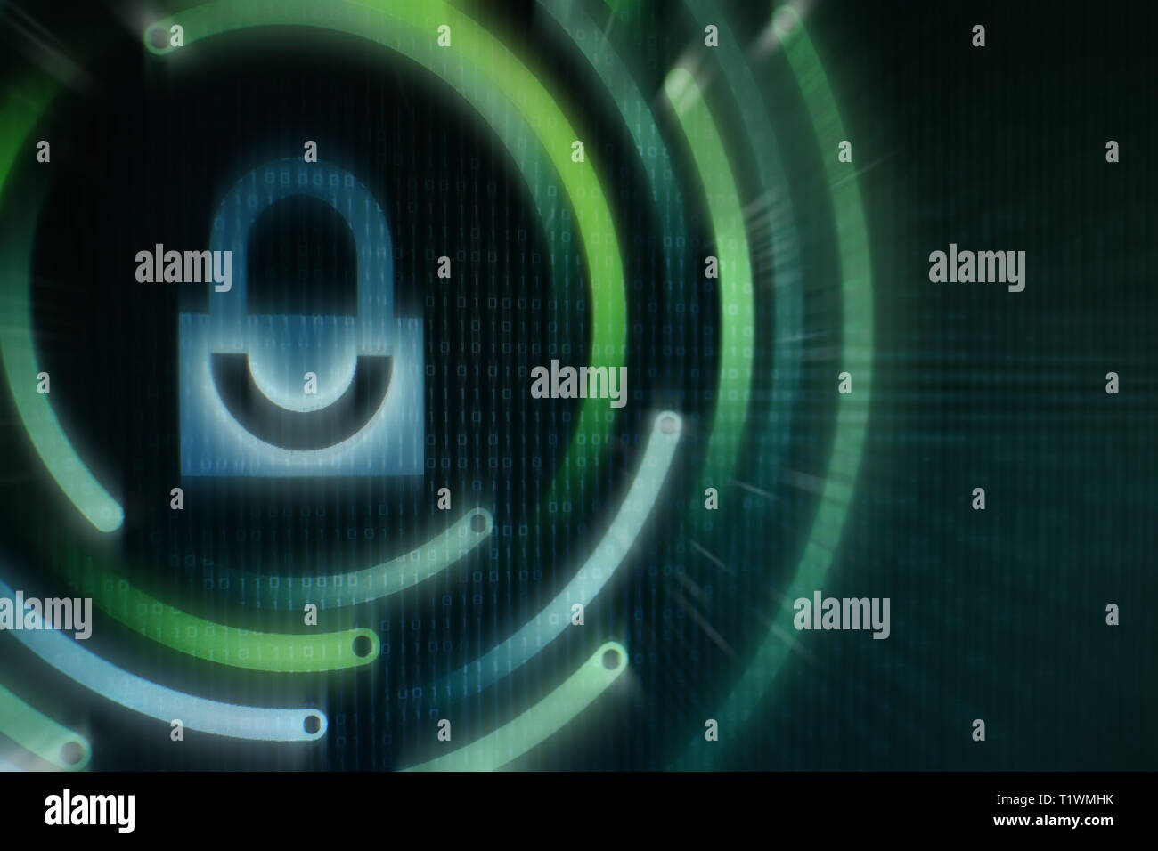 White graphic symbol of a padlock on green binary computer display - computer data protection. Internet Business Cyber security system concept - Stock Image