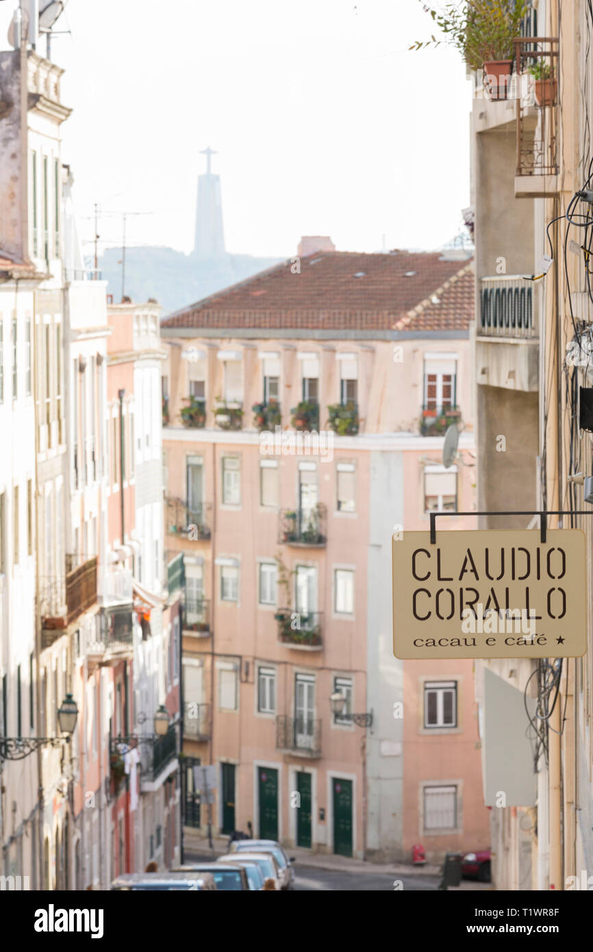 A street scene in the Barrio Alto neighborhood, Lisbon, Portugal. Claudio Corallo is a well-known producer of gourmet chocolate products Stock Photo