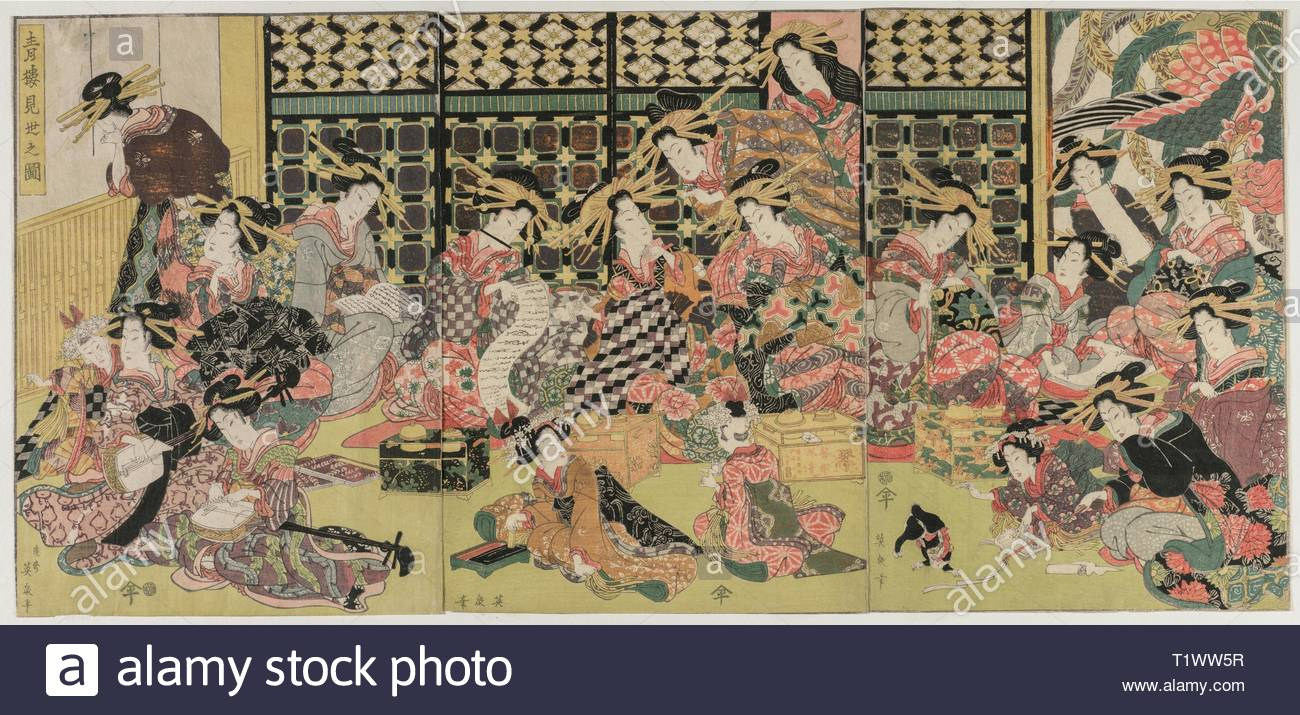 A Picture of the Viewing in the Pleasure Quarters, 1810s. Kikugawa Eizan (Japanese, 1787-1867). Color woodblock print; overall: 37.2 x 26.4 cm (14 5/8 x 10 3/8 in.). - Stock Image