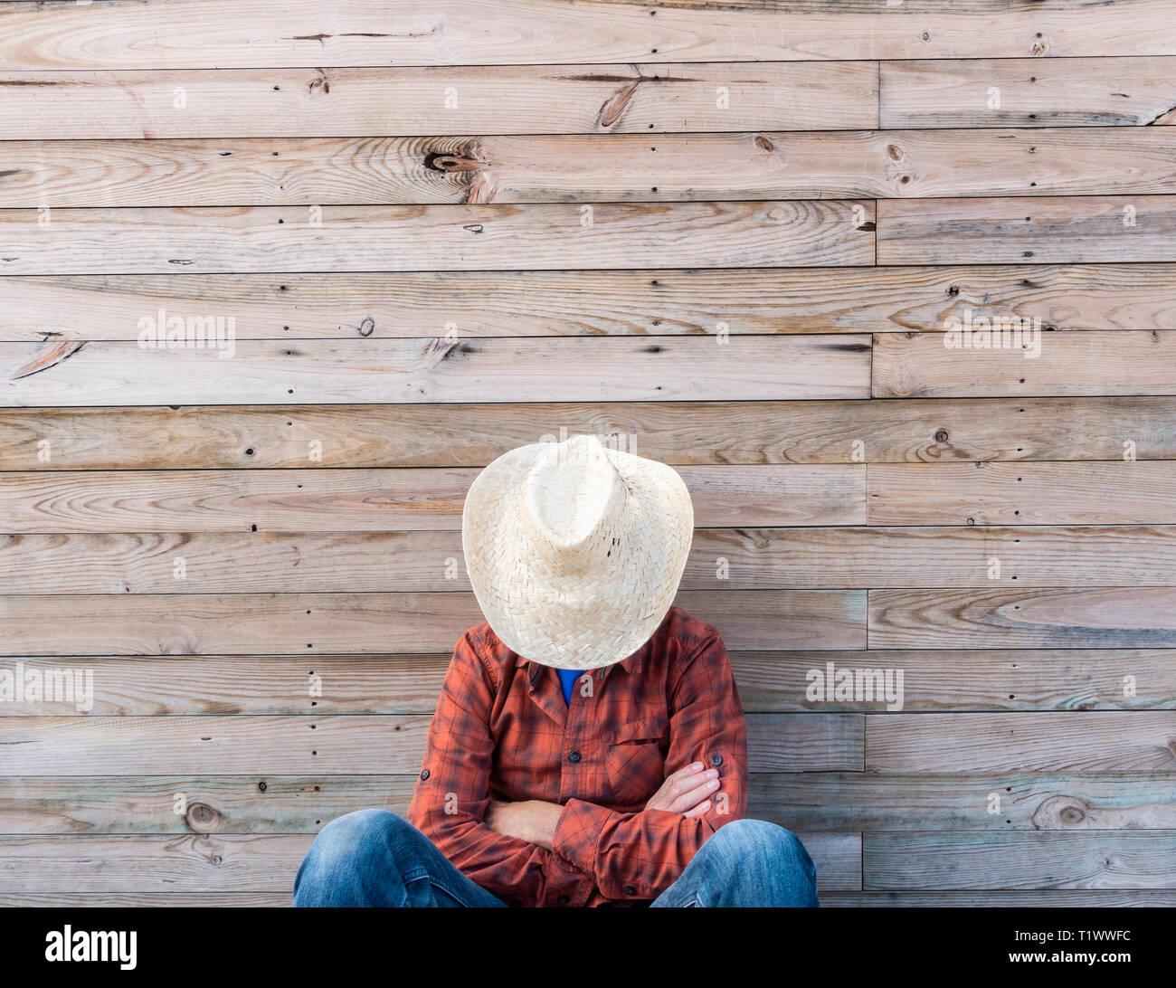 Man taking siesta nap in Spain - Stock Image