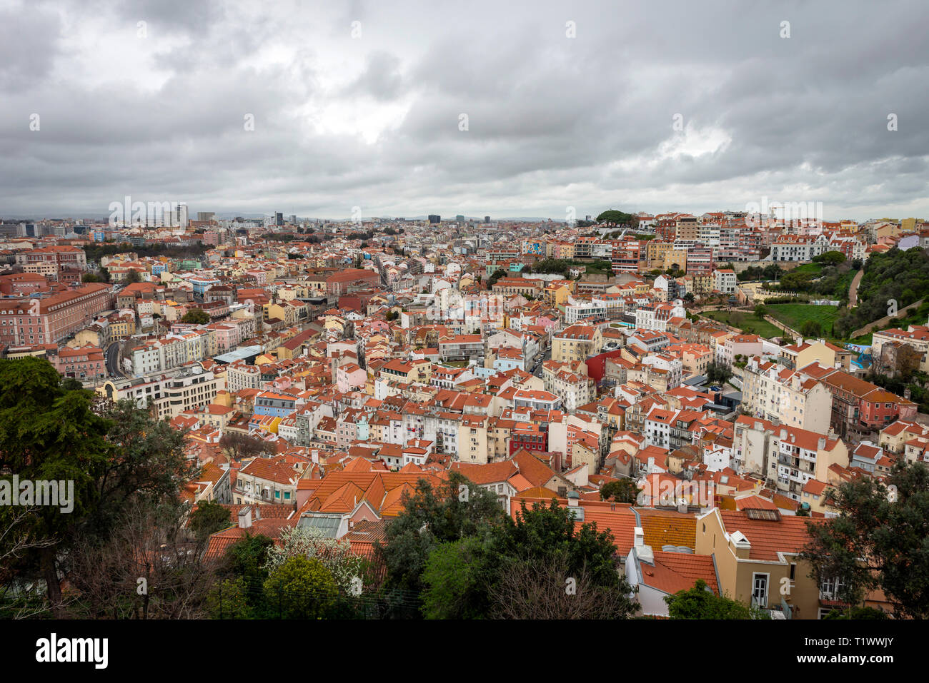 The view over Lisbon from the Sao Jorge Castle, Portugal - Stock Image