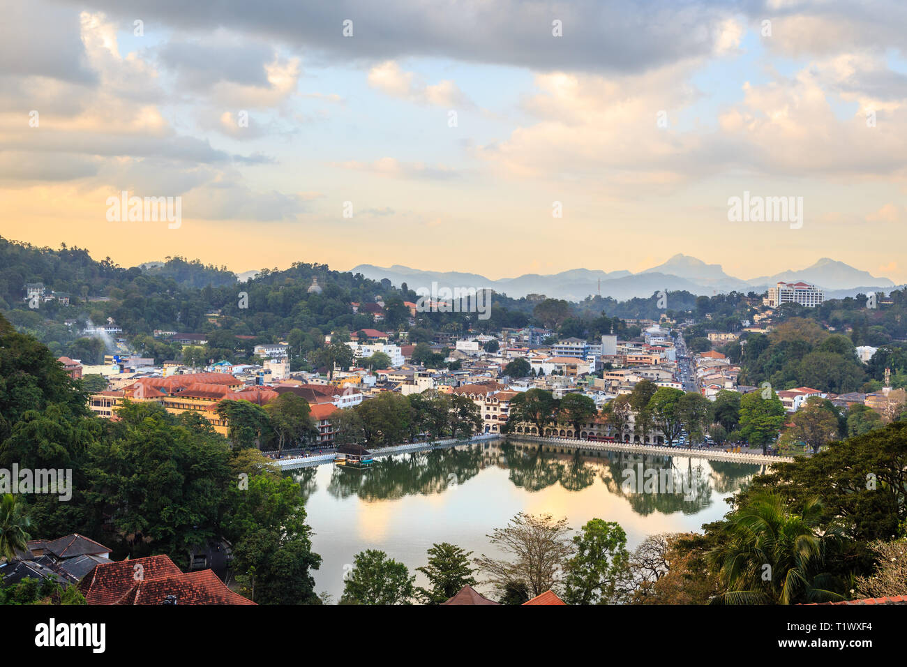 Srilankan Kandy city panorama with lake in the foreground, Central province, Sri Lanka Stock Photo
