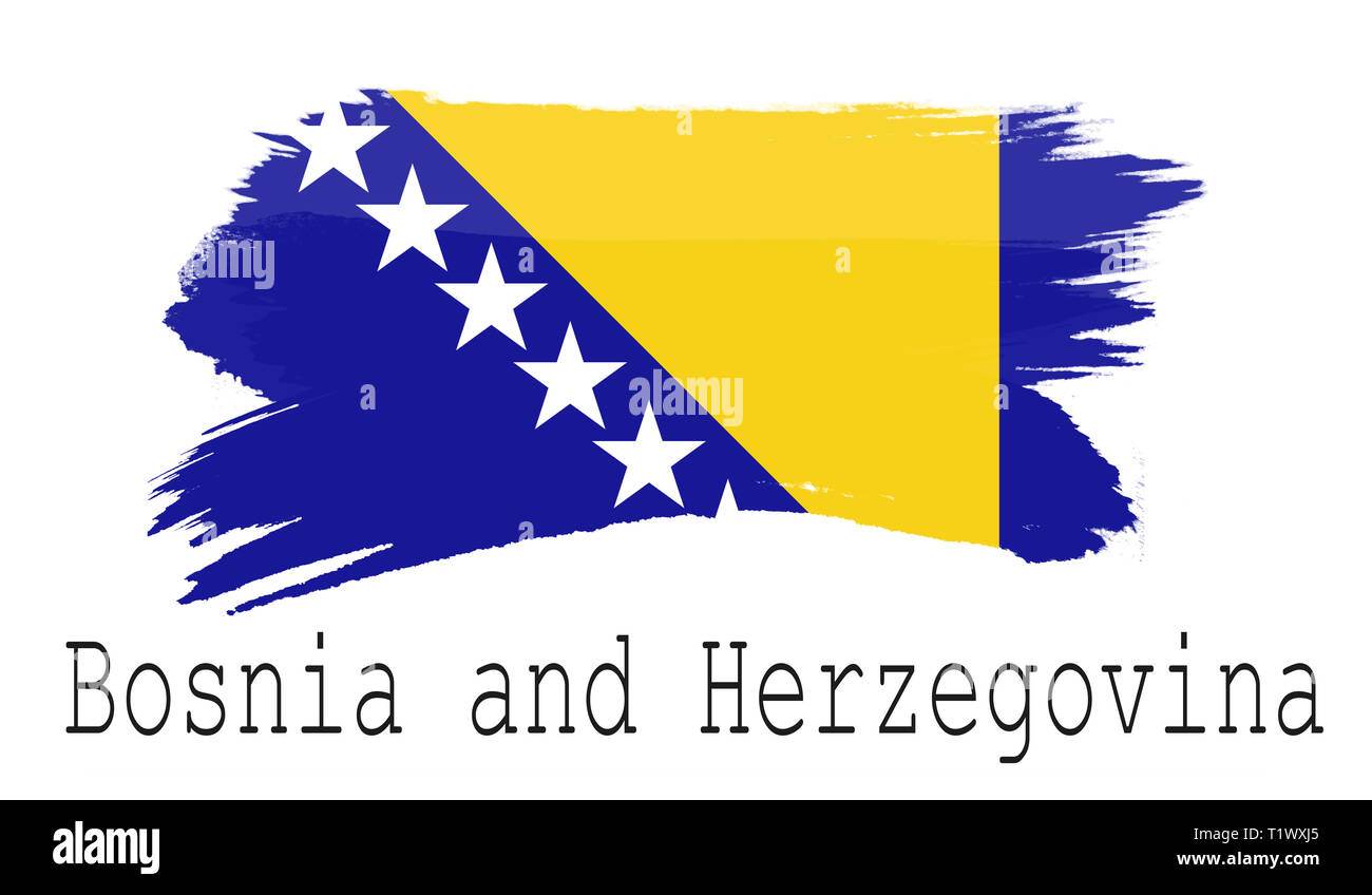Bosnia and Herzegovina flag on white background, 3d rendering - Stock Image