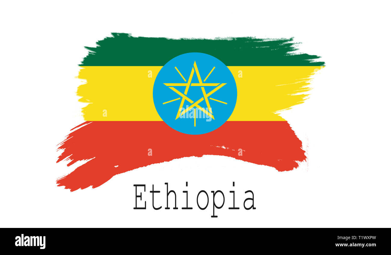 Ethiopia flag on white background, 3d rendering - Stock Image