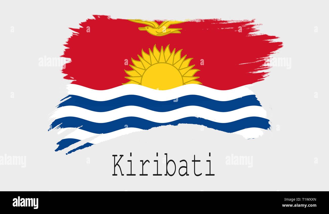 Kiribati flag on white background, 3d rendering - Stock Image