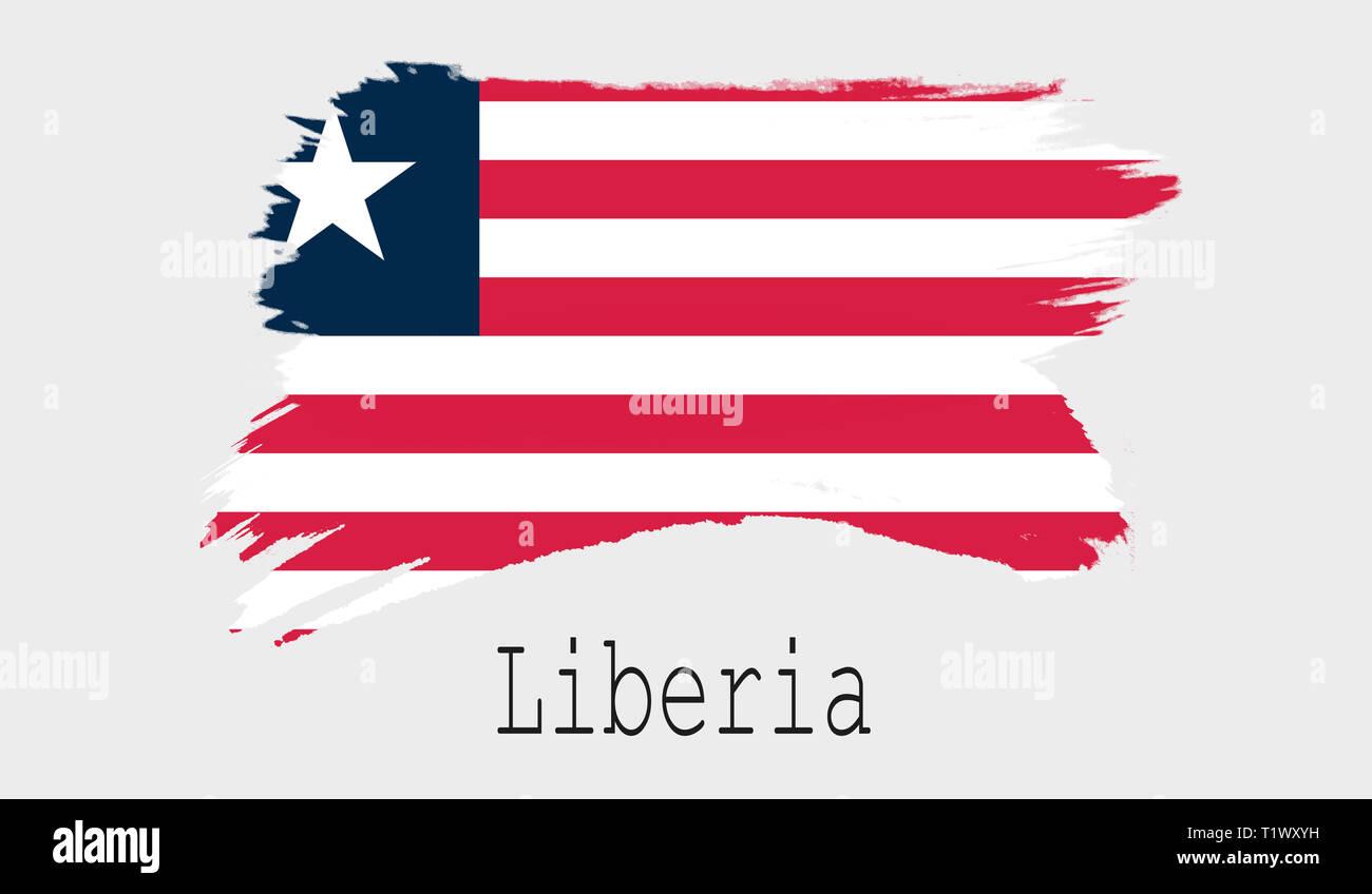 Liberia flag on white background, 3d rendering - Stock Image