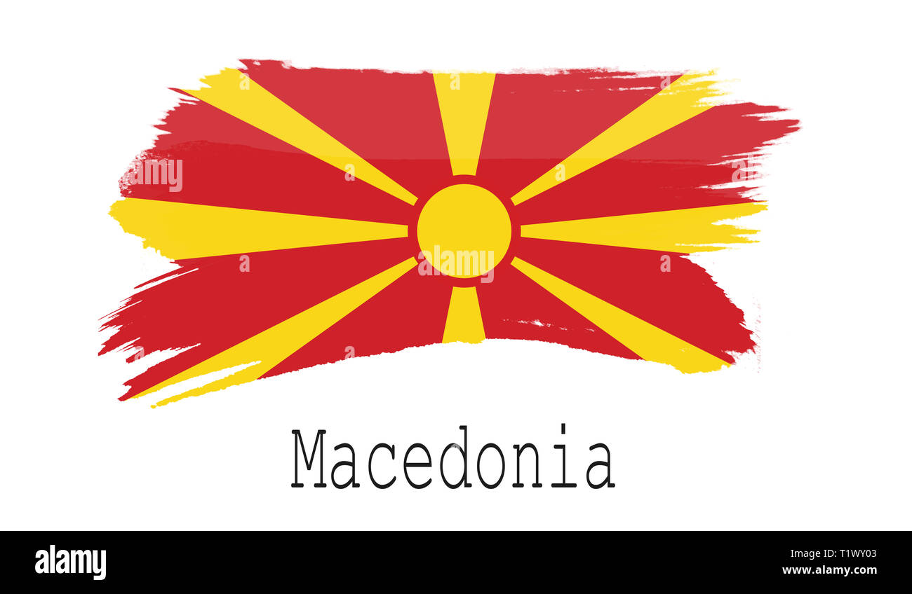 Macedonia flag on white background, 3d rendering - Stock Image