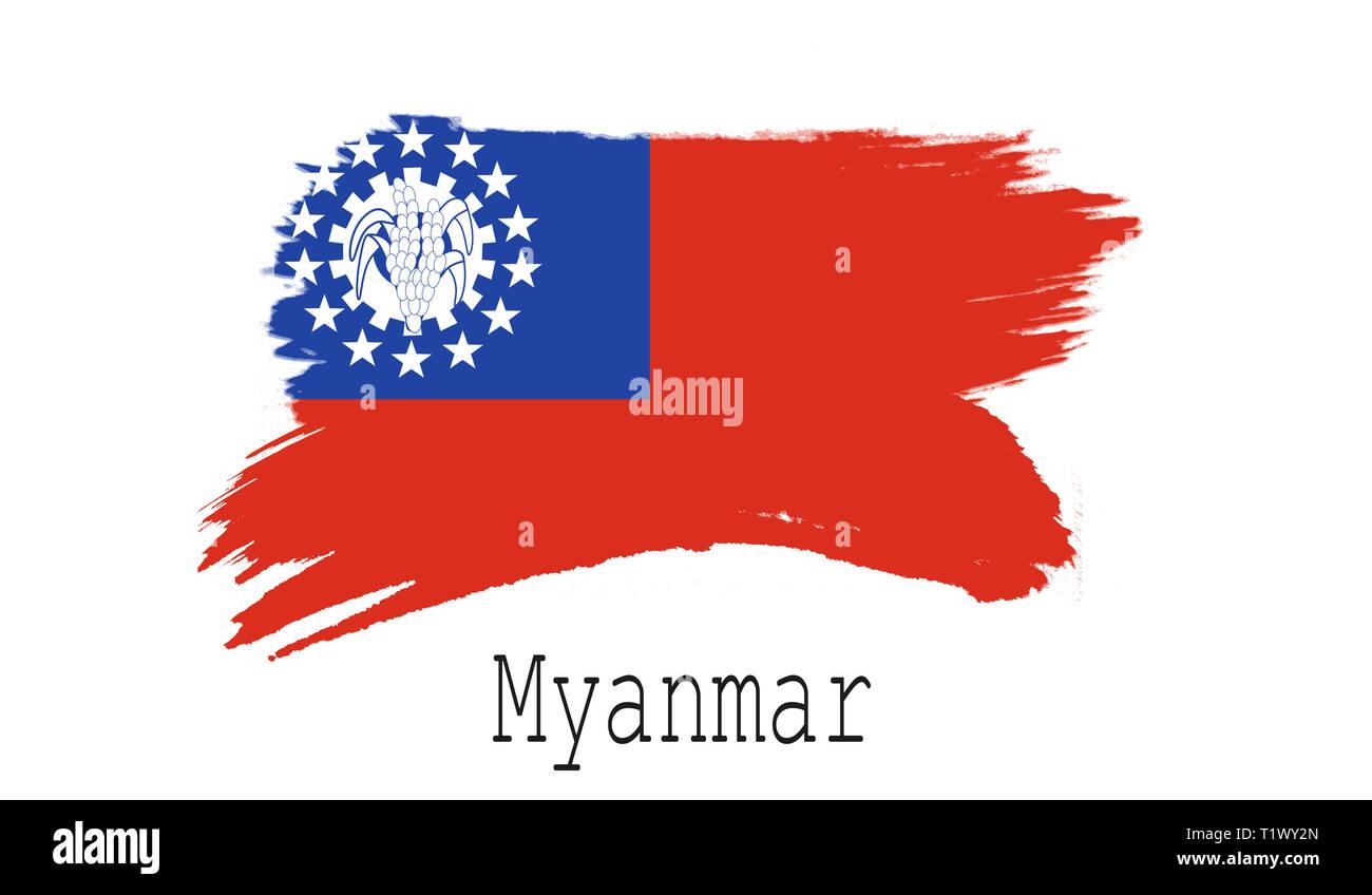 Myanmar flag on white background, 3d rendering Stock Photo