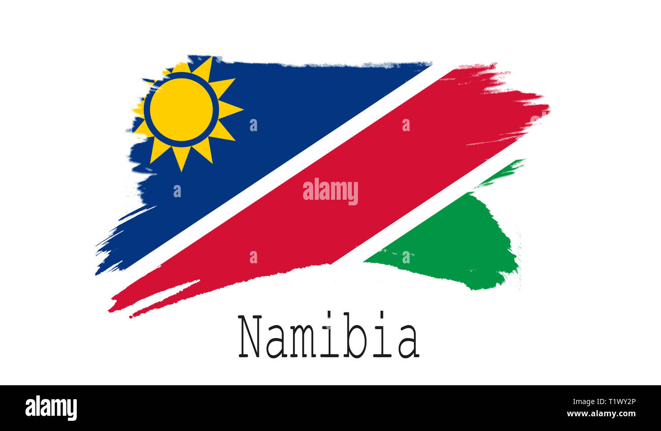 Namibia flag on white background, 3d rendering - Stock Image