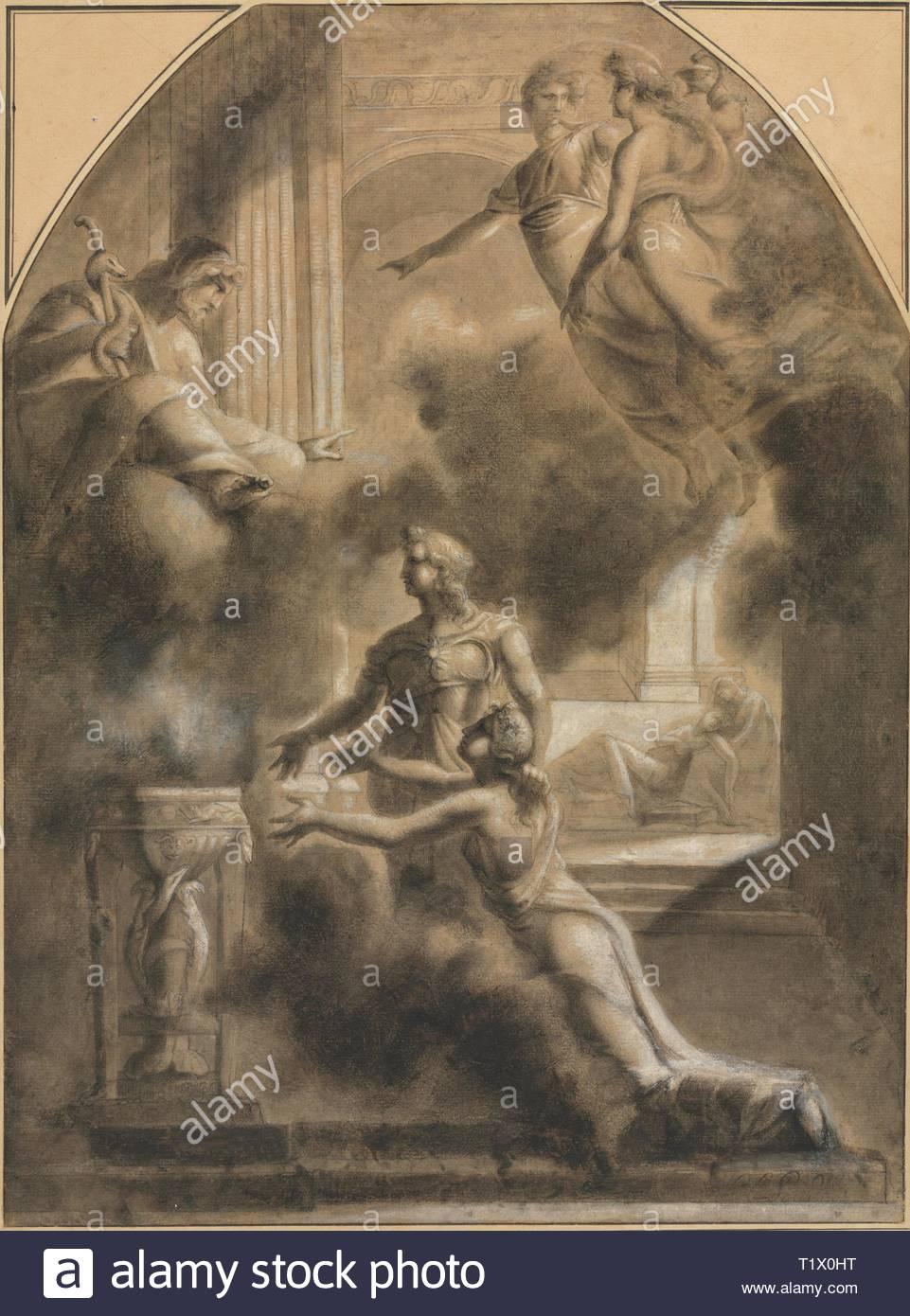 Mythological scene pierre paul prudhon french 1758 1823 black chalk