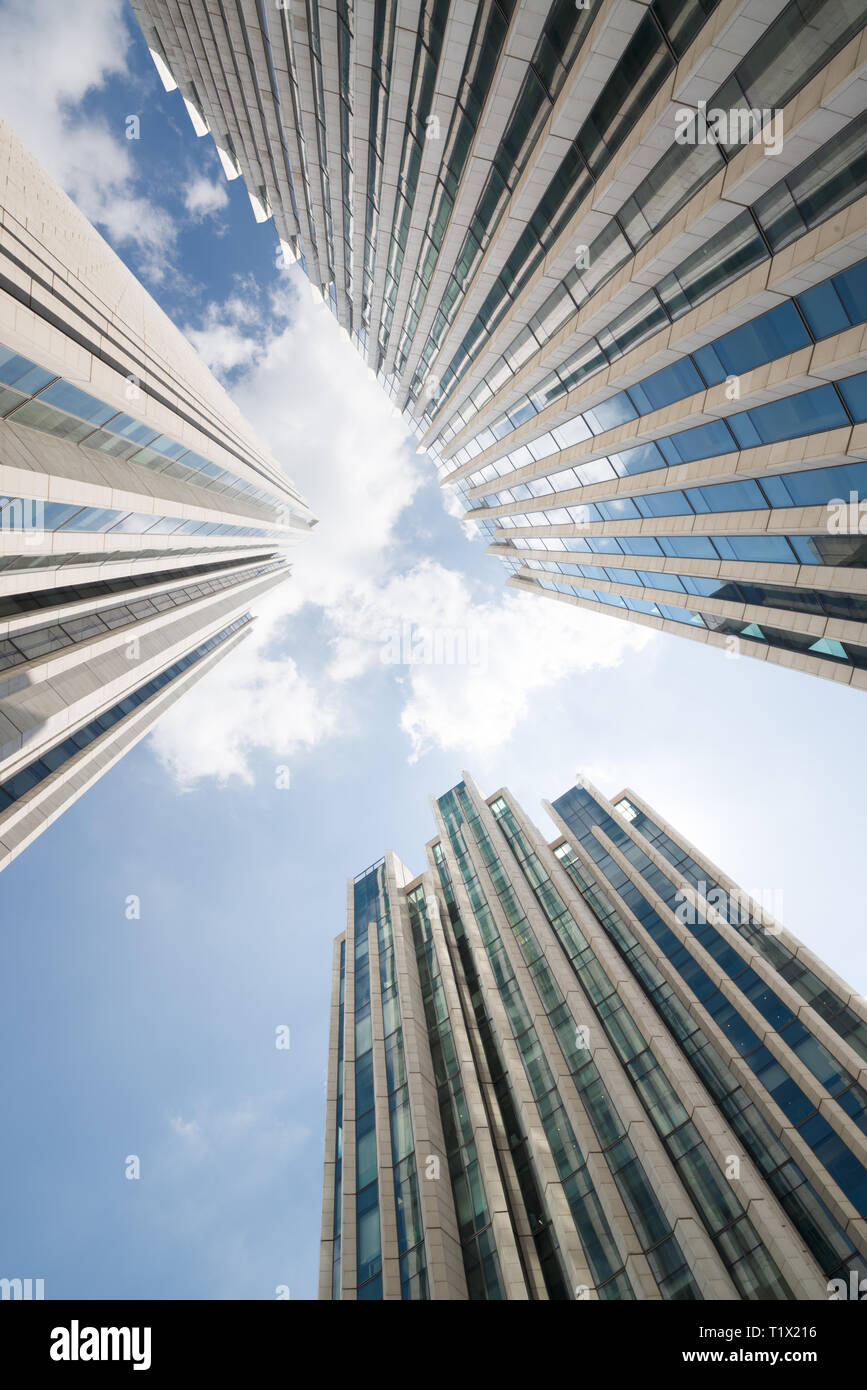 Urban architecture and Pudong Modern skyscrapers from below. Shanghai, China - Stock Image