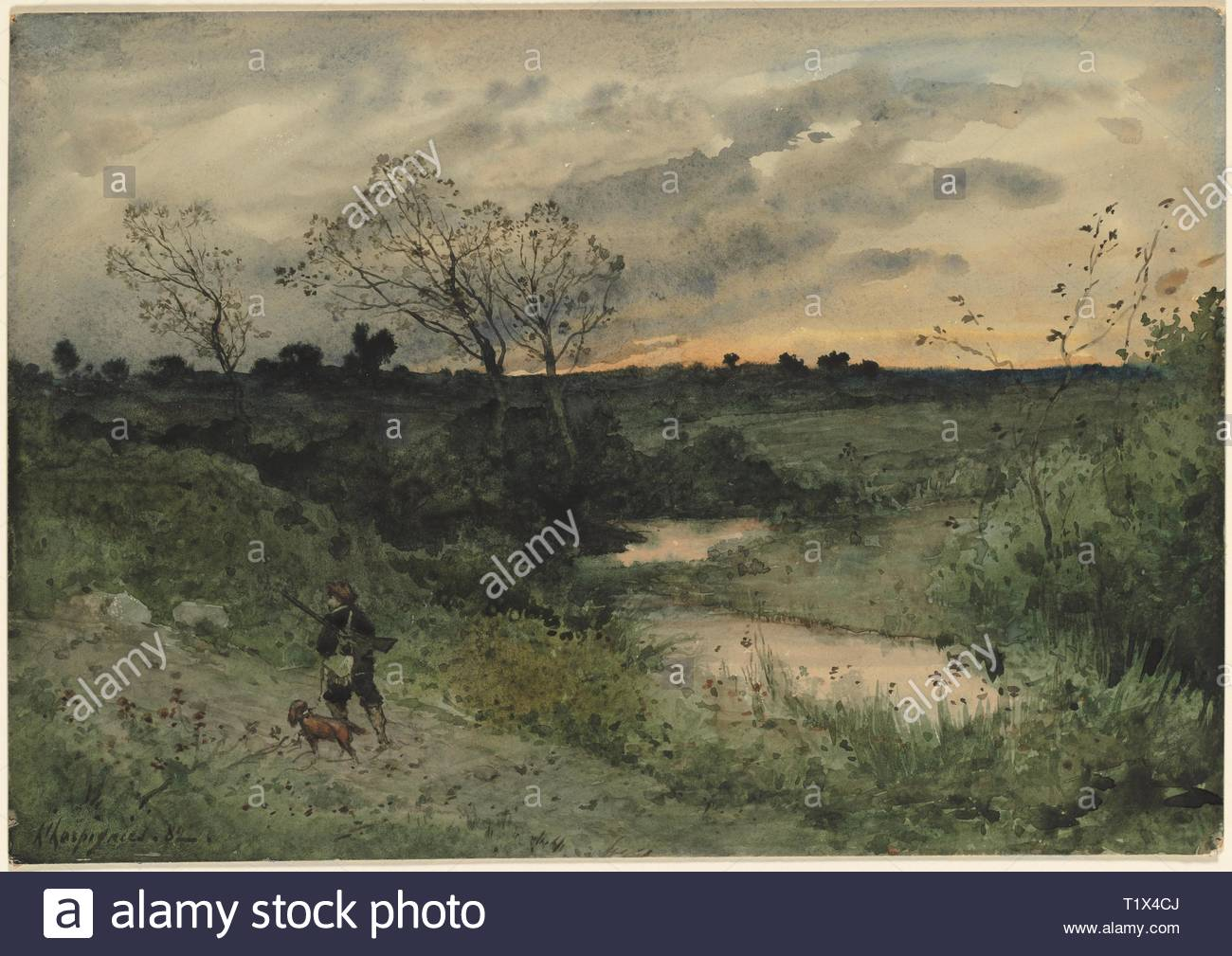 Dawn--Hunter with Dog, 1882. Henri Joseph Harpignies (French, 1819-1916). Watercolor; sheet: 37.6 x 53.5 cm (14 13/16 x 21 1/16 in.). - Stock Image