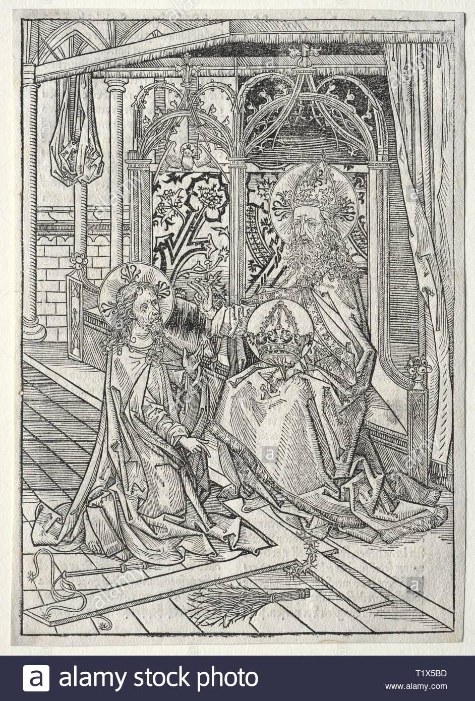 Der Schatzbehalter: The Trinity, 1491. Michael Wolgemut (German, 1434-1519). Woodcut. - Stock Image