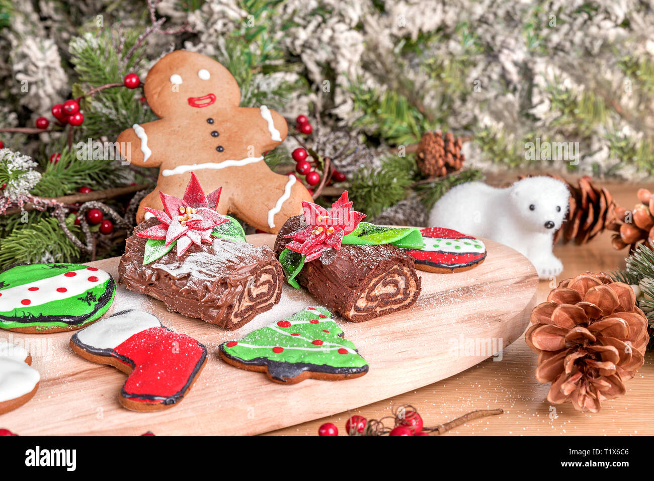 Different Type Of Christmas Cookies Served On A Wood Board With