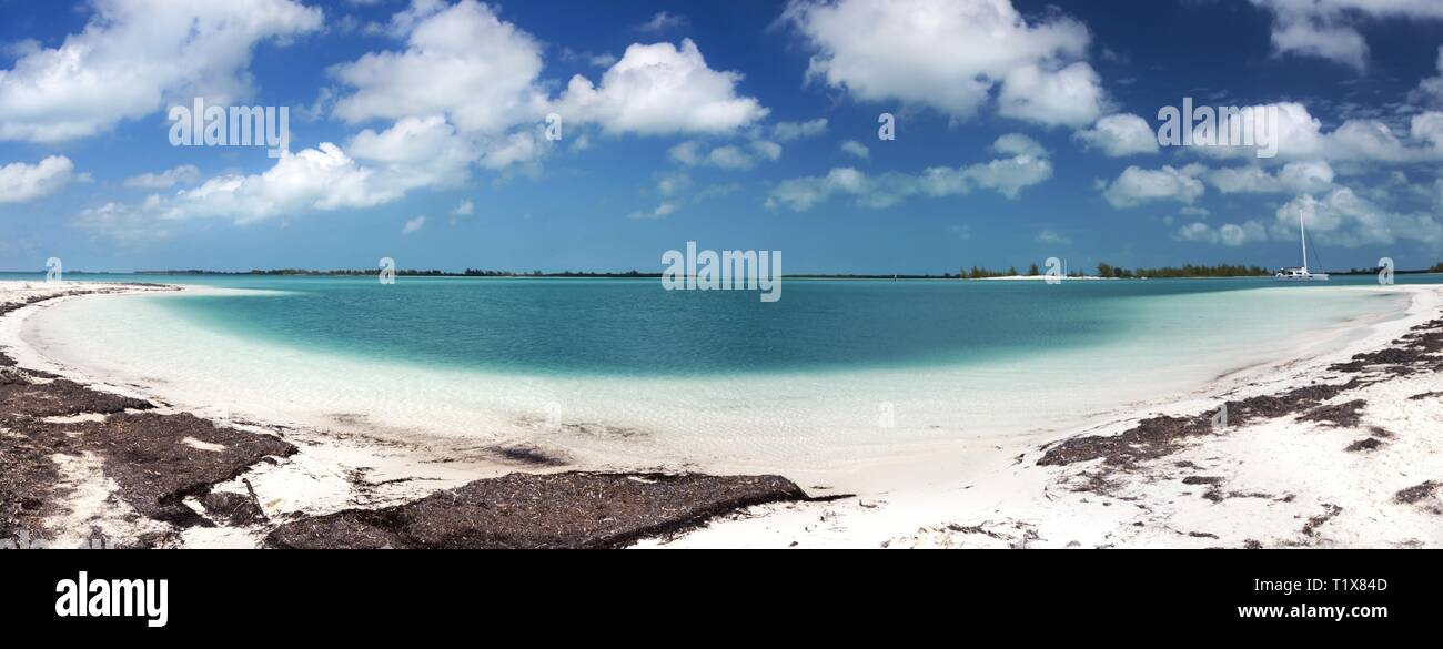 Wide Panoramic Landscape Scenery of Playa Paraiso, one of most beautiful beaches in the World, on Cayo Largo Tropical Island in Caribbean Sea, Cuba - Stock Image
