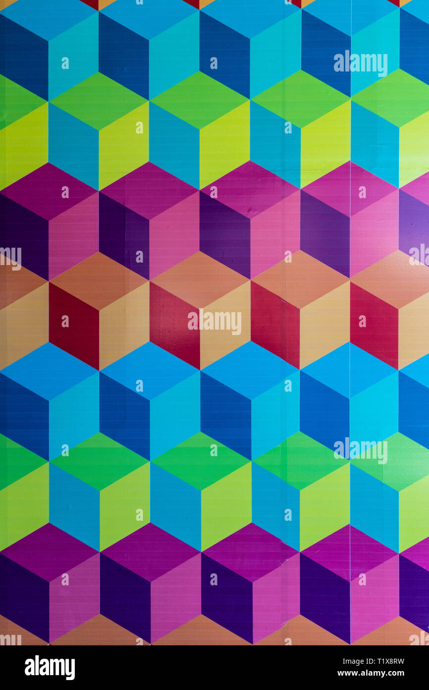 Colorful 3 dimensional wall art at Paseo Queretaro, a modern 'malltertainment' shopping mall and entertainment district located in Queretaro, Mexico - Stock Image