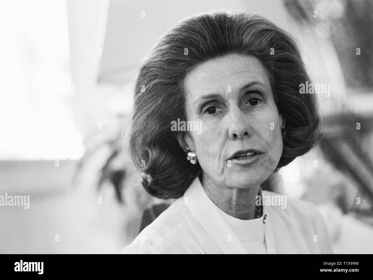 Anne Beau Cox Chambers - born December 1, 1919 - is an American media proprietor, who had a stake of interest in Cox Enterprises, a privately held media empire that includes newspapers, television, radio, cable television, and other businesses.[3]  She is the daughter of James M. Cox, a newspaper publisher and 1920 Democratic Presidential nominee, and his second wife, Margaretta Parker Blair. She owns and controls her father's business interests, through Cox Enterprises. For 33 years she co-owned the family company with her sister, Barbara Cox Anthony, who died on May 28, 2007. - Stock Image