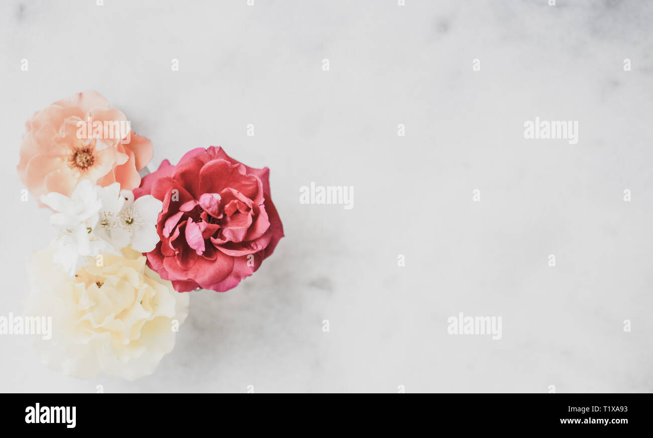 Wedding Decor Floral Background And Beautiful Home Garden Concept Vintage Roses On Marble Stock Photo Alamy