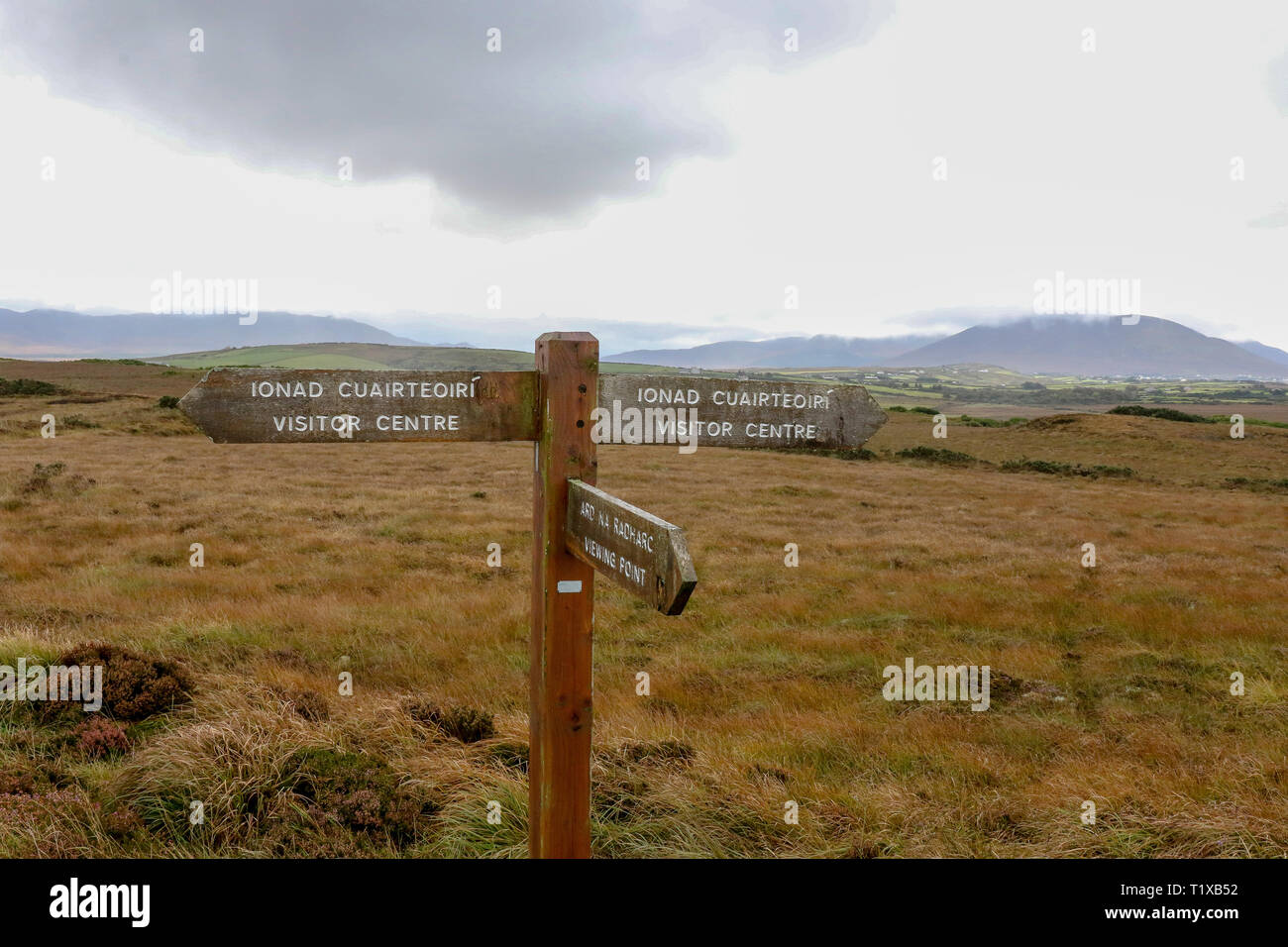 Nephin Beg Mountains and bogland in County Mayo behind a walking route at Ballycroy National Park, Irleland. - Stock Image