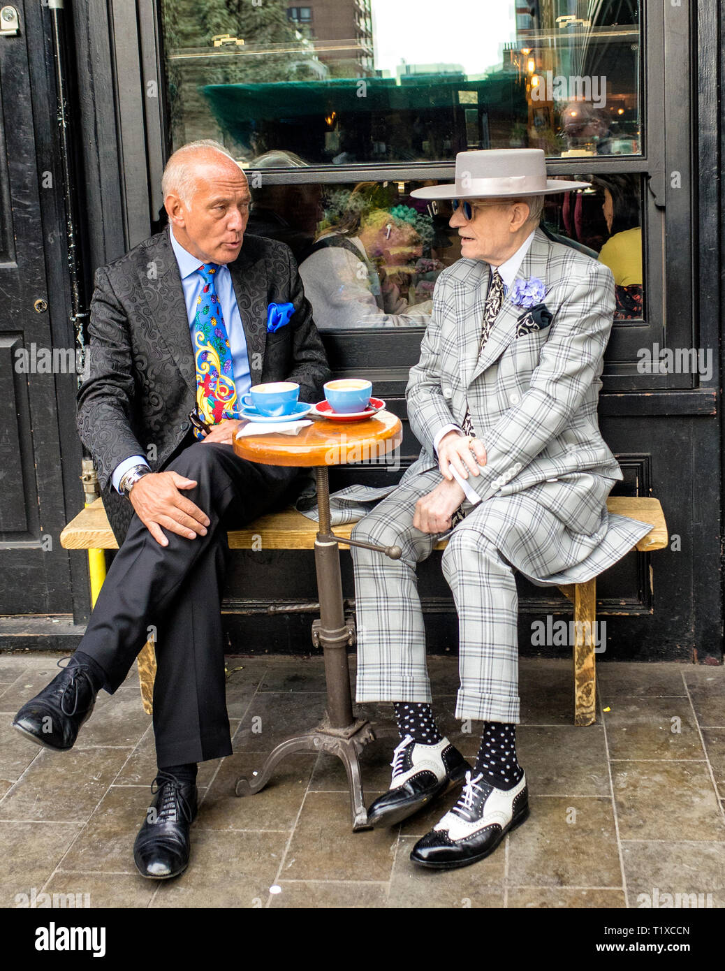 George Skeggs, Soho Artist sitting outside my place cafe - Stock Image