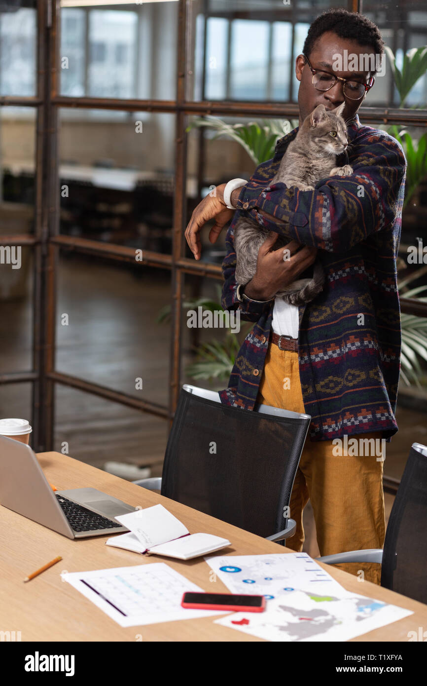 Man playing with a cat at work Stock Photo