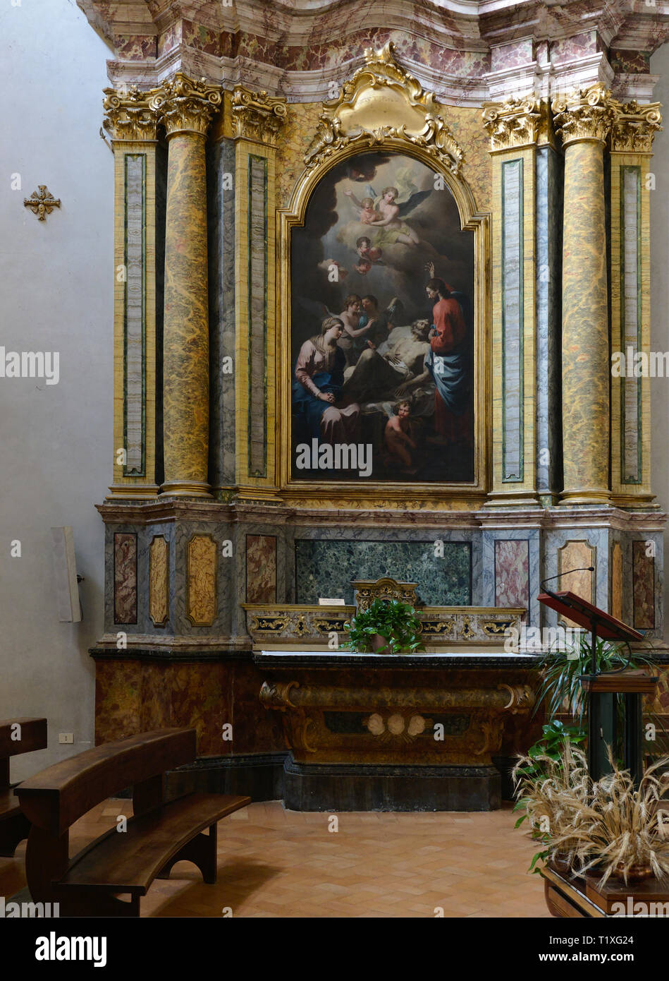 Assisi Umbria Italia - Italy. Church of Santa Maria sopra Minerva old Roman temple turned in church. Morte di San Giuseppe oil on canvas by Martin Kno Stock Photo