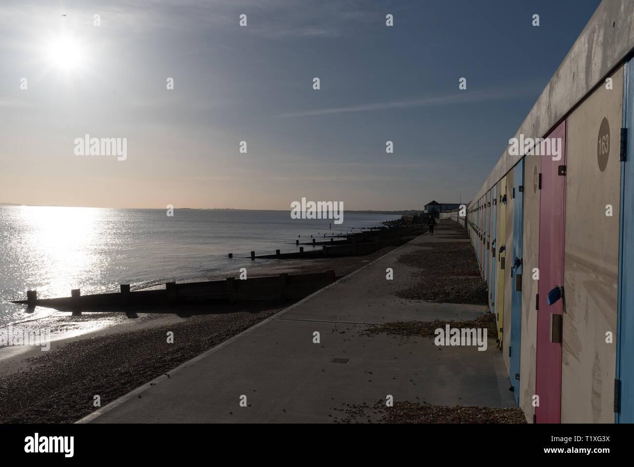 Milford on sea hampshire seaside beach - Stock Image