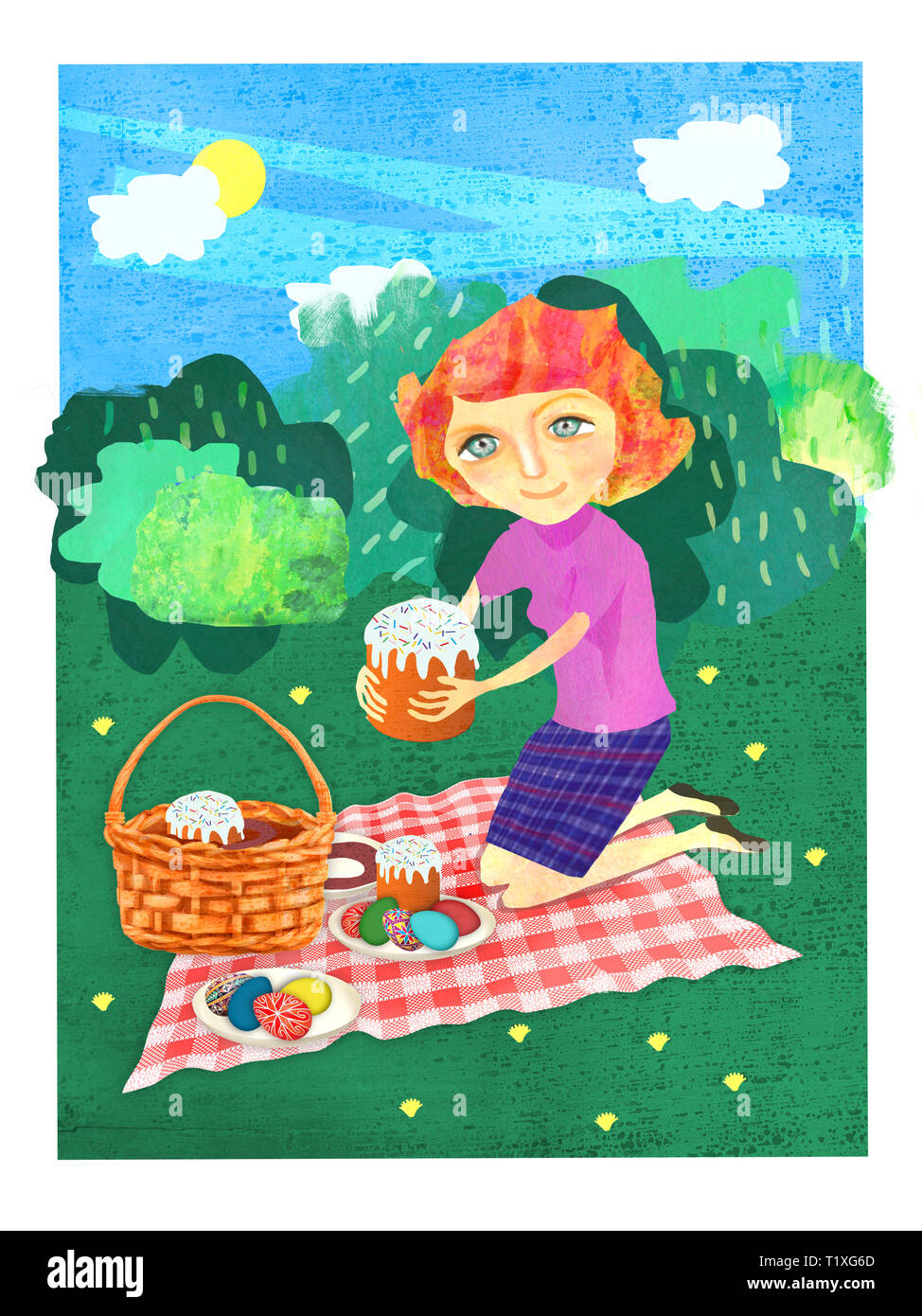 The woman decomposes food for a festive picnic. Easter illustrations in the technique of the author. - Stock Image