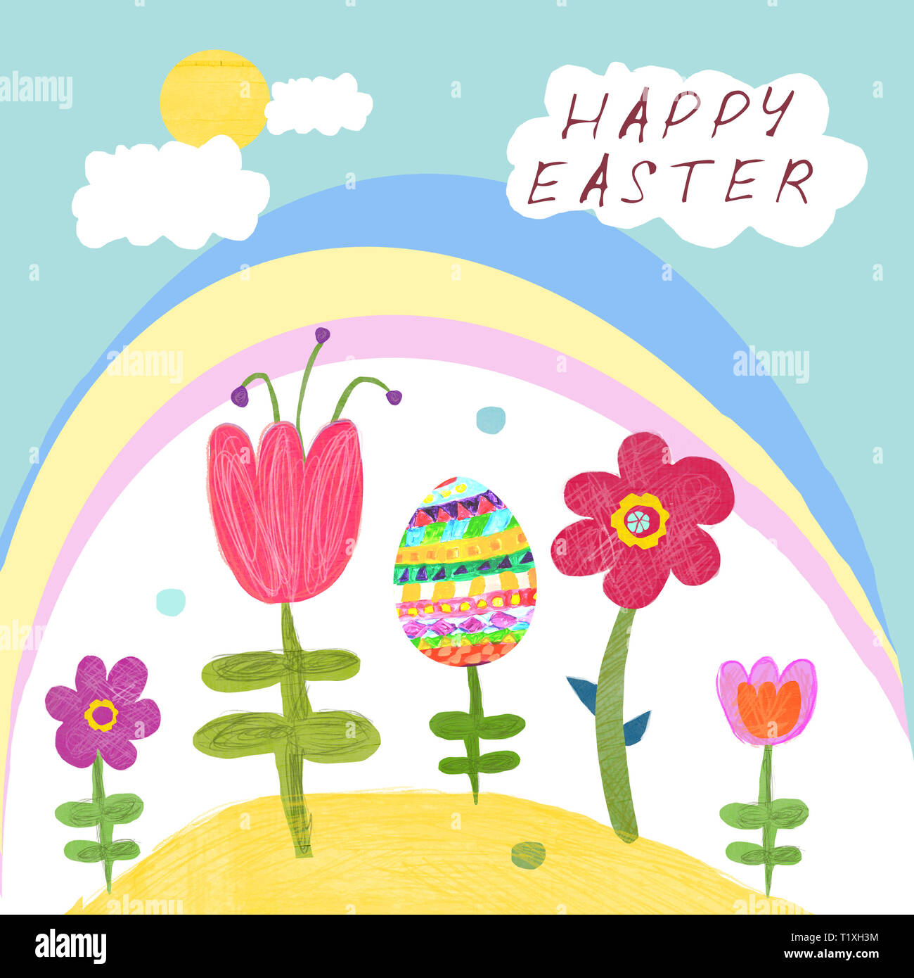 Illustration in the naive style Happy Easter.Flowers, easter egg, rainbow, clouds and sun on a greeting card. - Stock Image