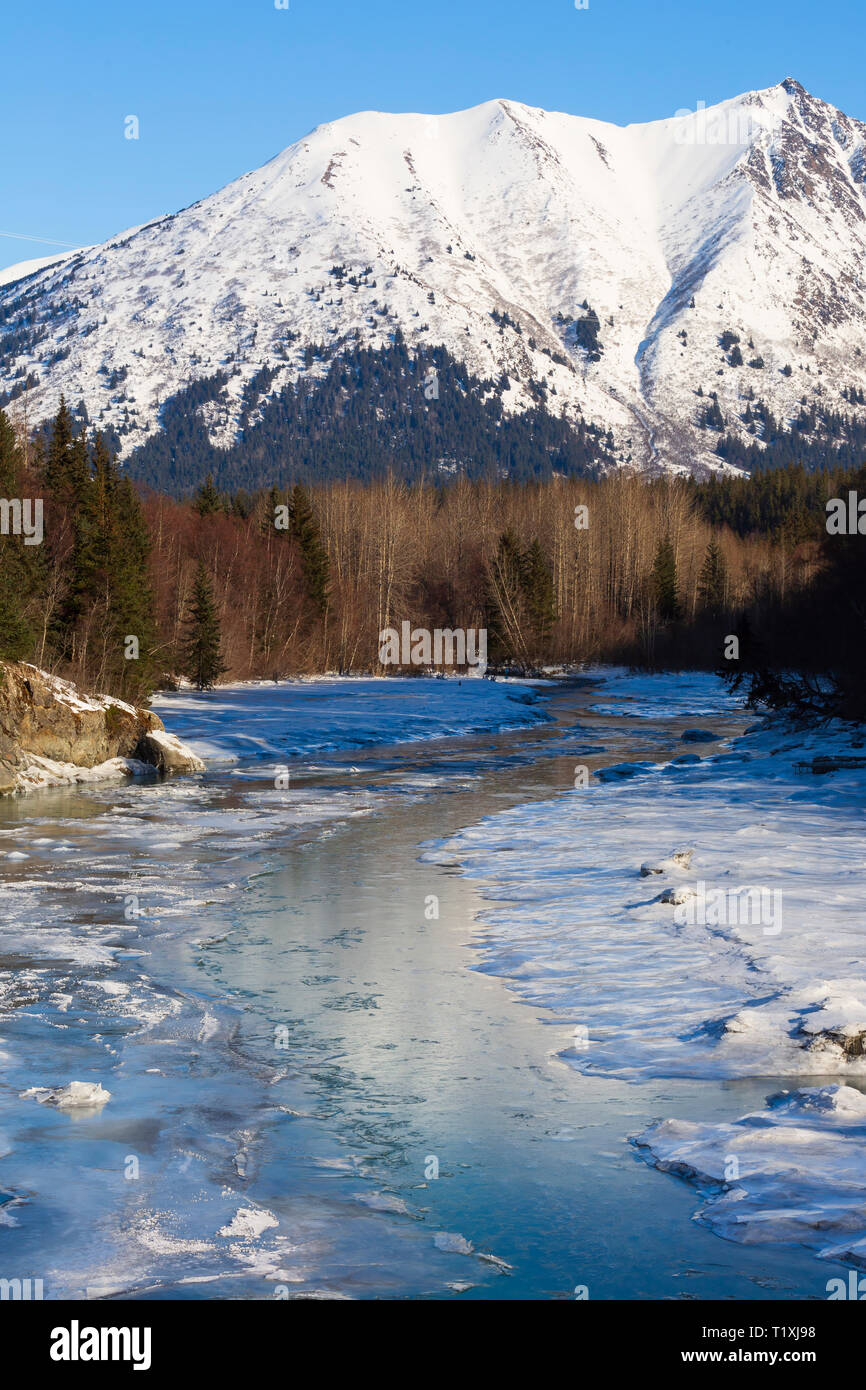 Portage Creek, Portage Glacier Highway, Alaska - Stock Image
