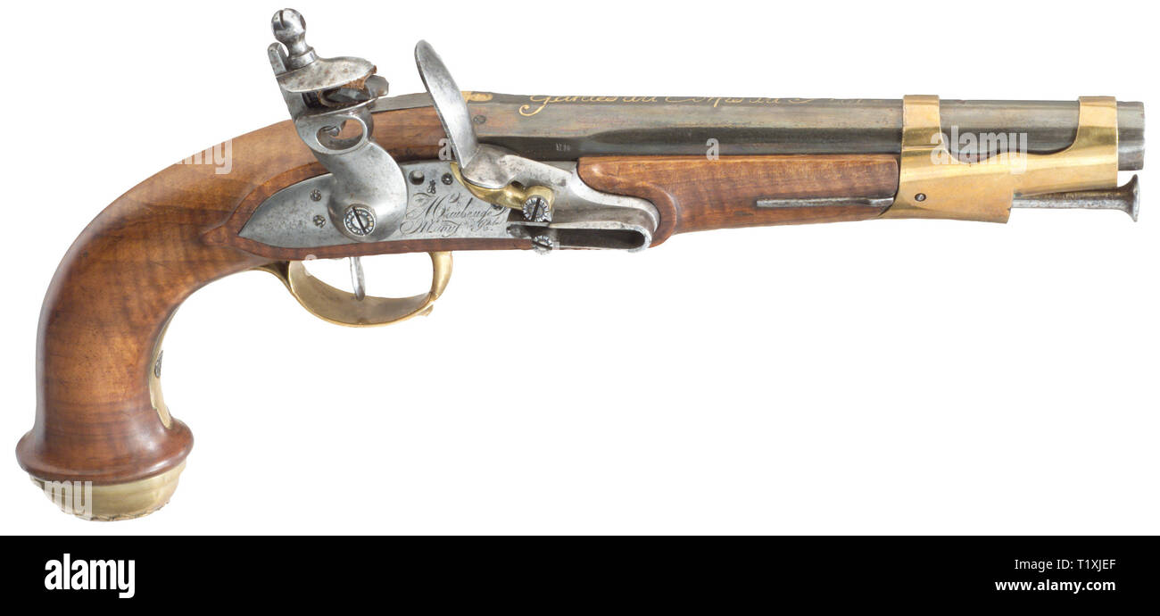 Small arms, pistols, flintlock pistol, Garde du Corps du Roi, 1st version, marked 'AC' (Charles Francois Alphand, director) and 'B' (Daniel Bouissavy, 1st inspector), Maubeuge Manufacture Royale, France, 1814, Additional-Rights-Clearance-Info-Not-Available - Stock Image