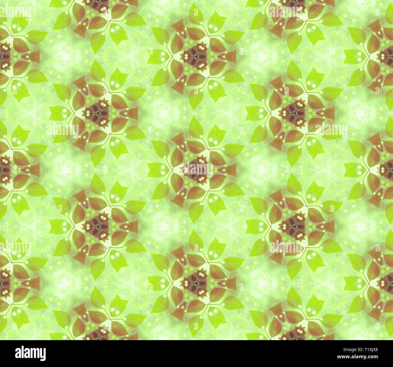 Seamless air pattern, gentle leaves, green. Vegetable wall-paper in style of a fantasy. A romantic background for design, packing paper, greeting card - Stock Image