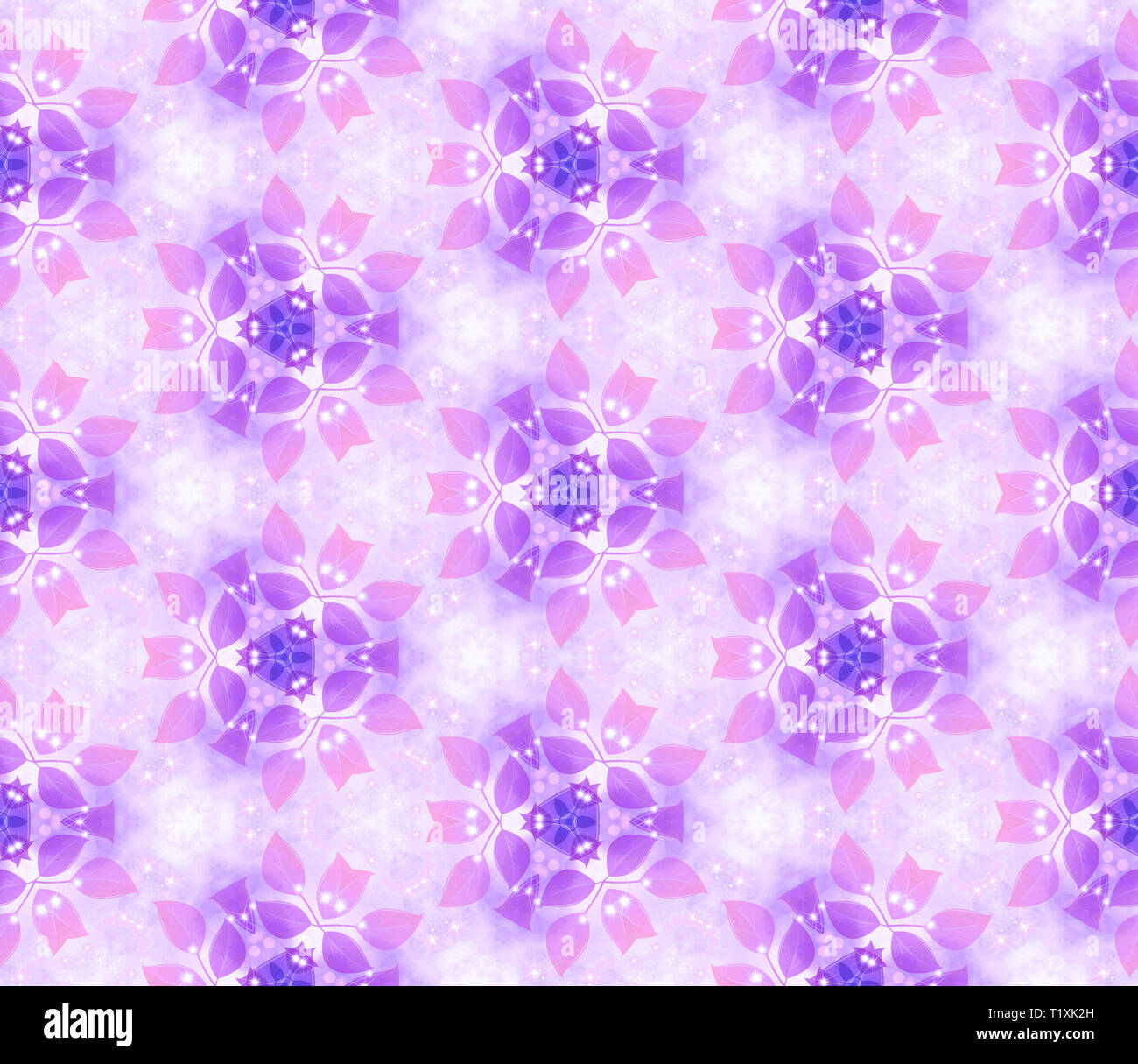 Seamless air pattern, gentle leaves, purple. Vegetable wall-paper in style of a fantasy. A romantic background for design, packing paper, greeting car - Stock Image