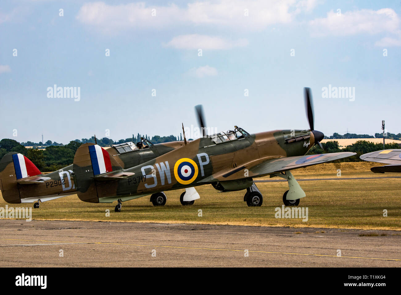 A pair off Hawker Hurricanes ready for takeoff - Stock Image