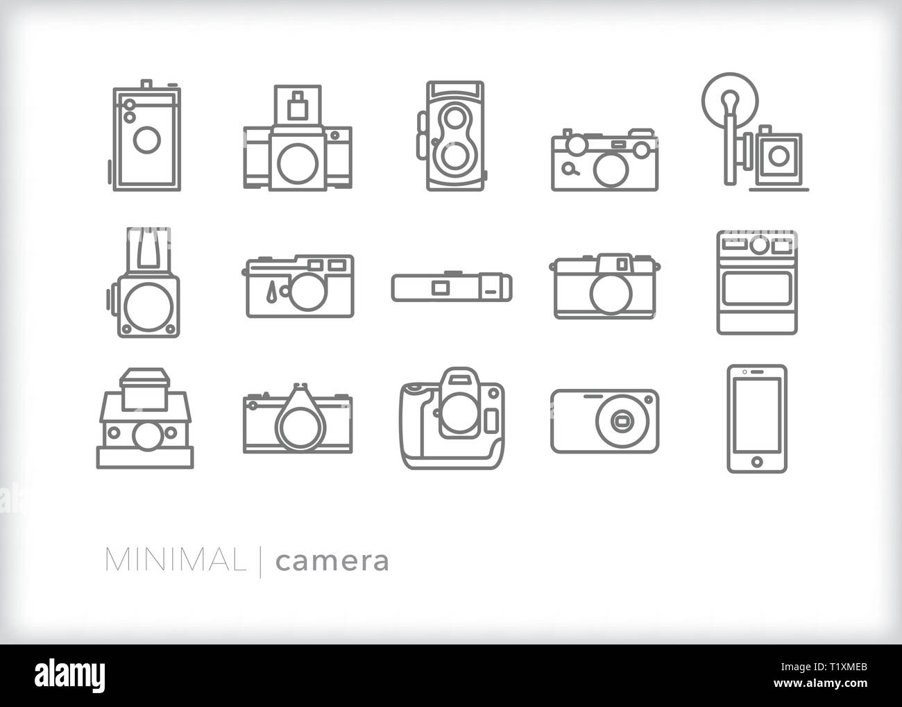 Set of 15 camera line icons of medium format, SLR, DSLR, instant and smart phone cameras - Stock Image