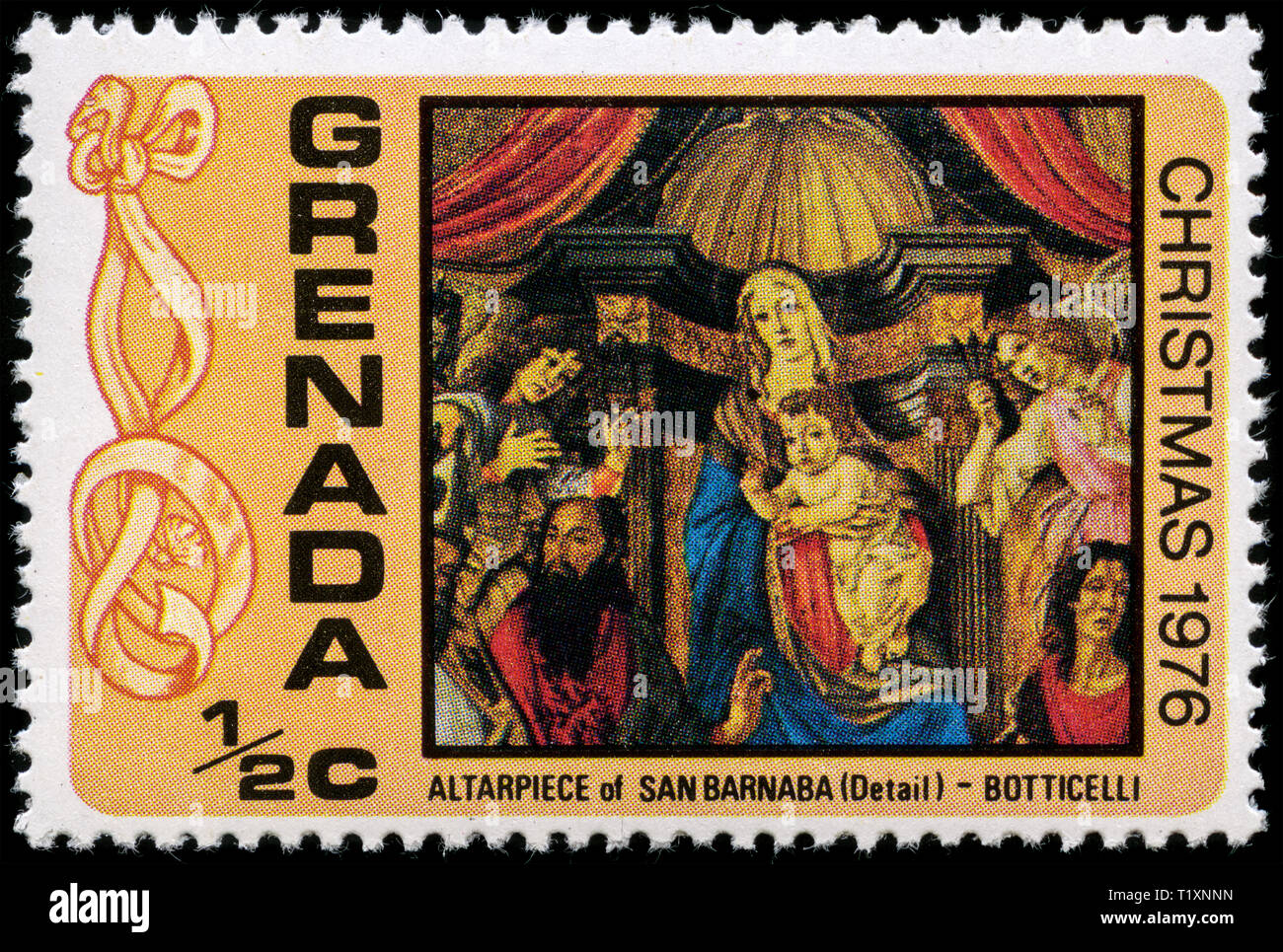 Postage stamp from Grenada in the Christmas 1976 series - Stock Image