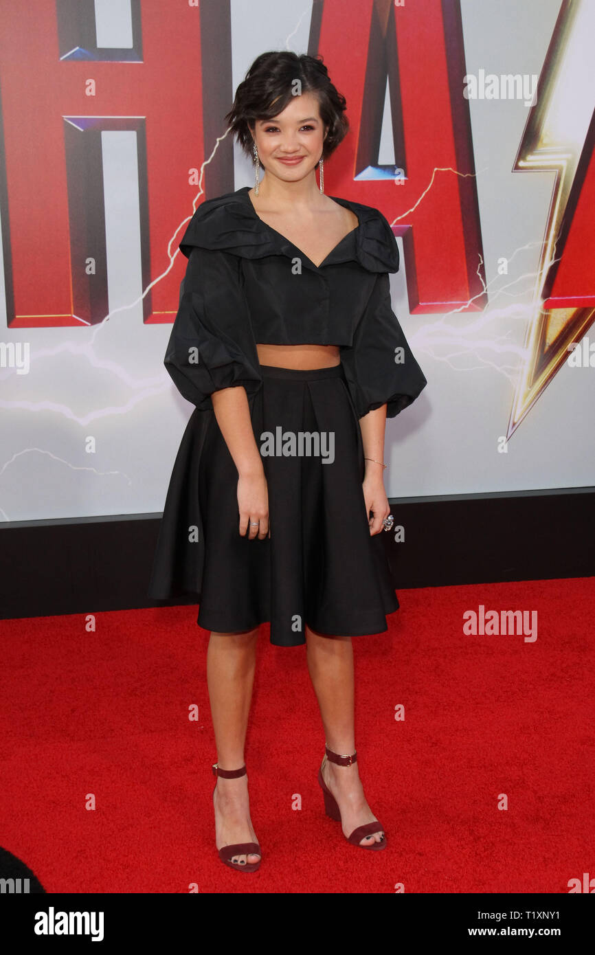 Peyton Elizabeth Lee at The World Premiere of 'Shazam' held at the TCL Chinese Theatre, Hollywood, CA, March 28, 2019. Photo Credit: Joseph Martinez / PictureLux - Stock Image