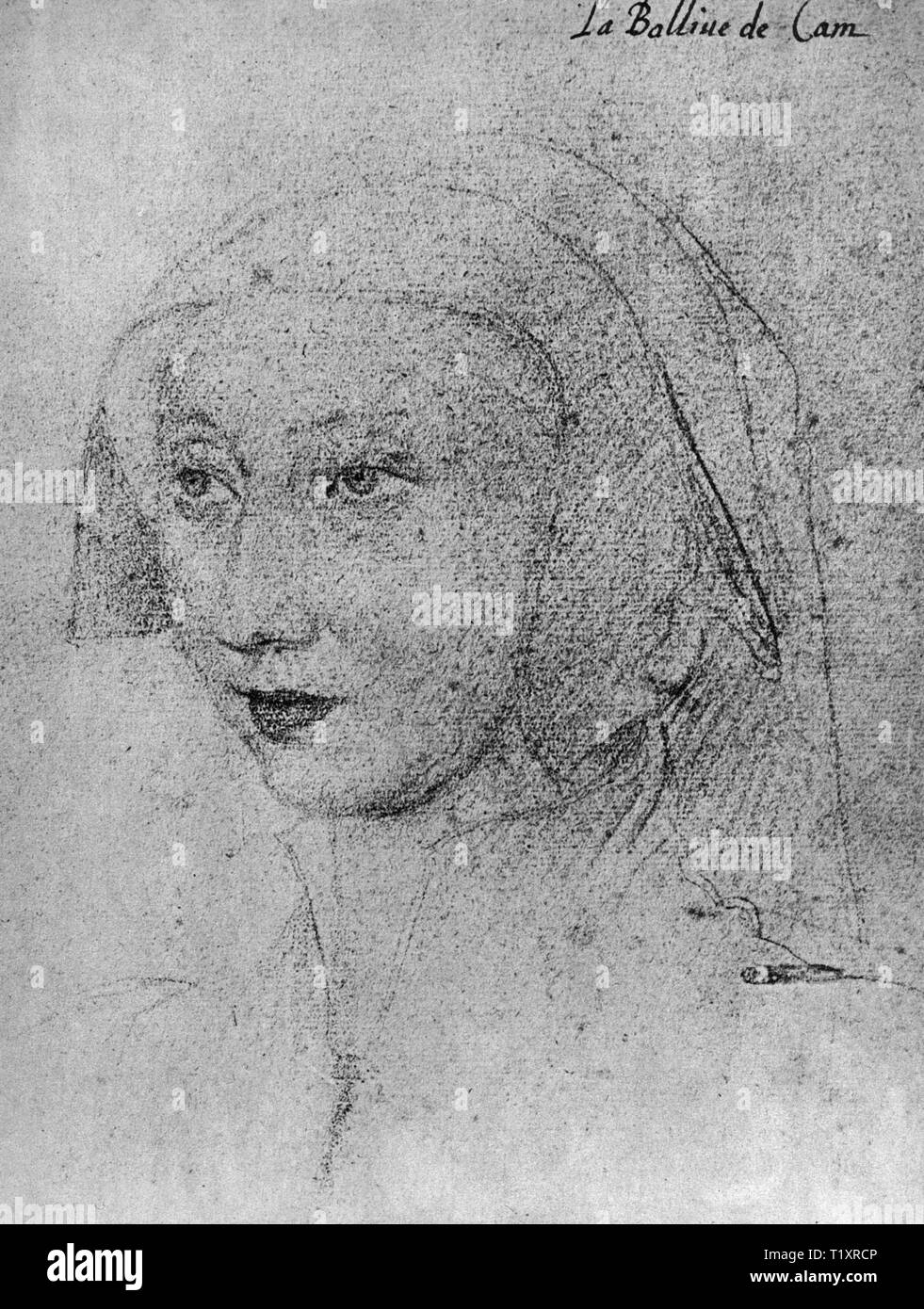 fine arts, Jean Clouet (1480 - 1541), drawing, 'La Balline de Cam', 1523, Additional-Rights-Clearance-Info-Not-Available - Stock Image