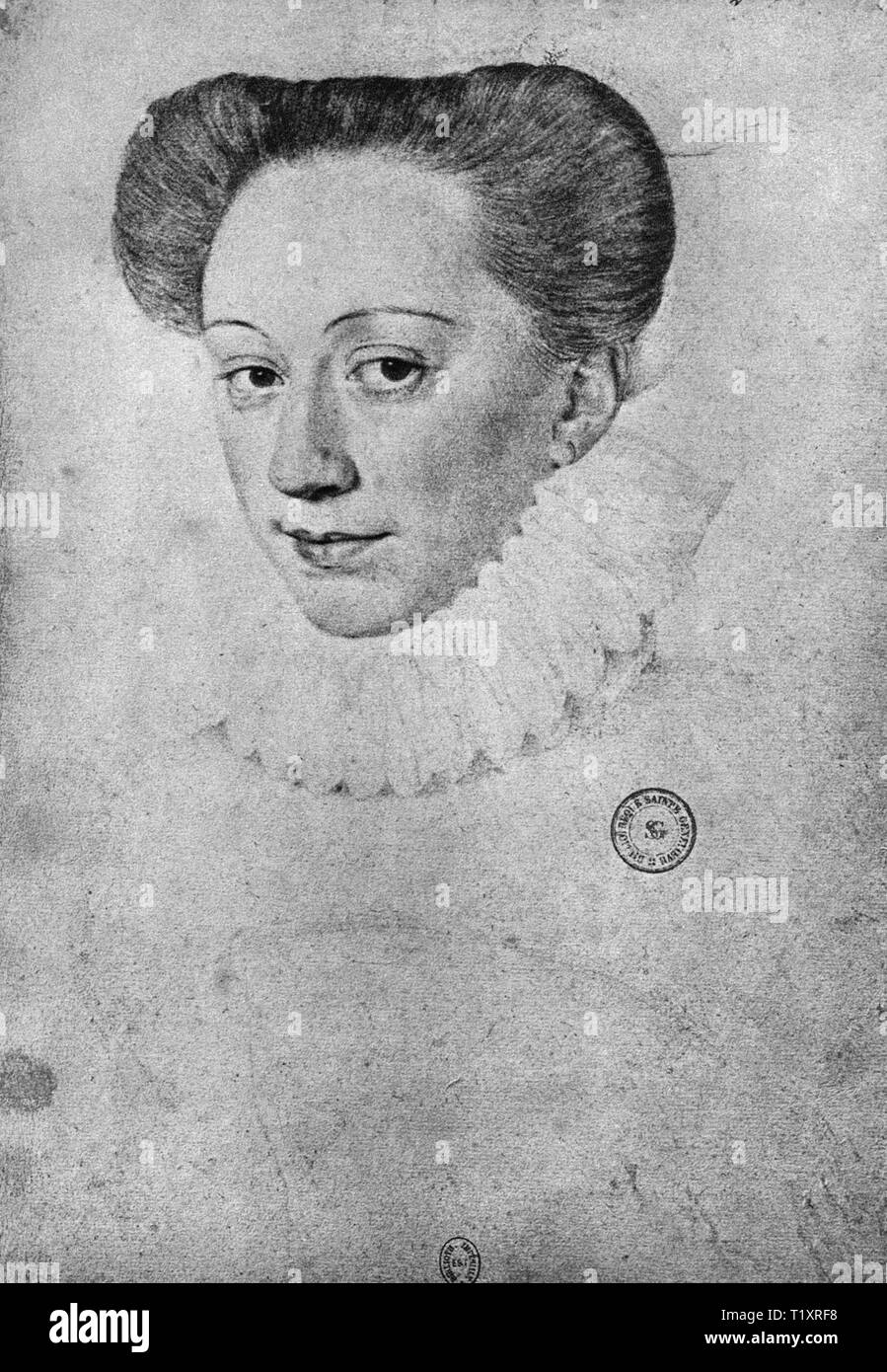 fine arts, Renaissance, portrait of an unknown woman, probably Francois Clouet, drawing, 16th century, Bibliotheque Nationale, Paris, Additional-Rights-Clearance-Info-Not-Available - Stock Image