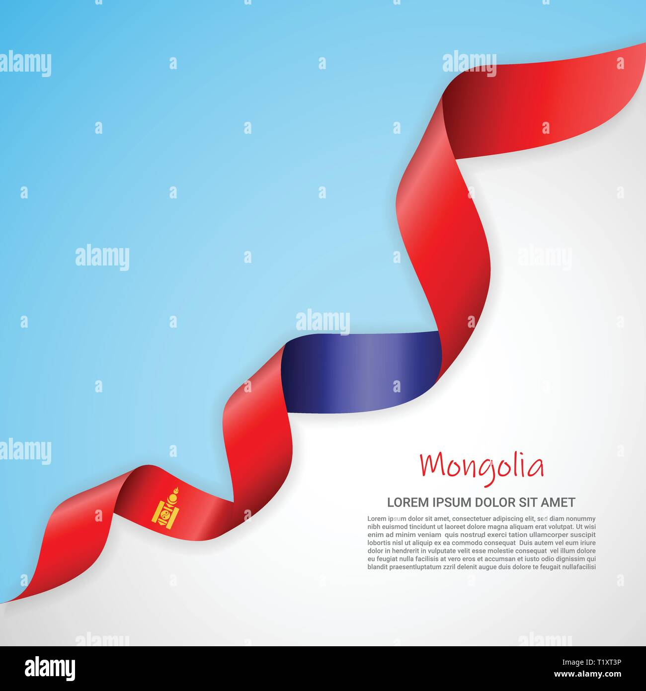 Vector banner in white and blue colors and waving ribbon with flag of Mongolia. Template for poster design, brochures, printed materials, logos - Stock Vector