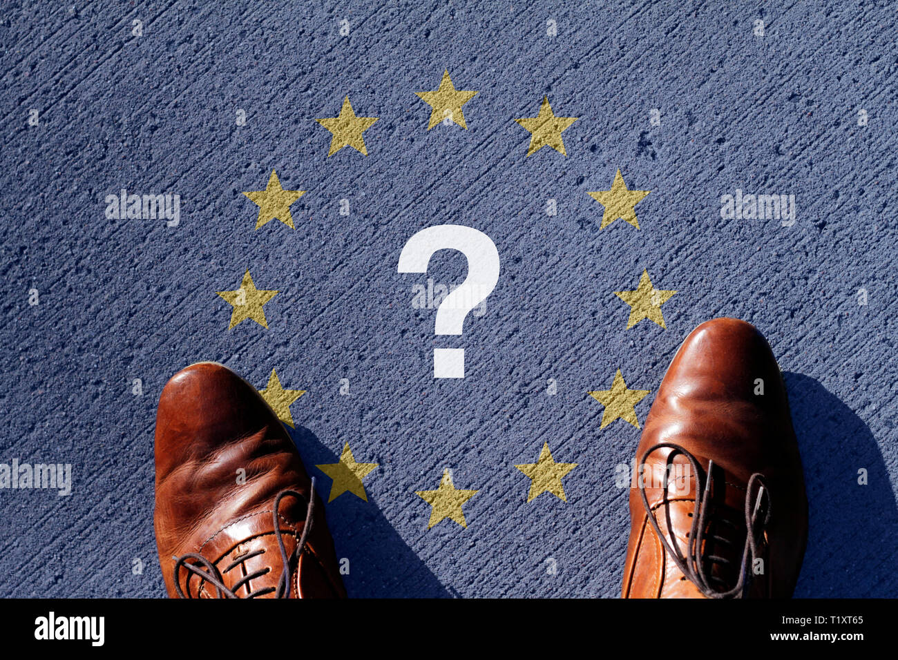 EU regulation and uncertainty - European Union flag and question mark - Stock Image