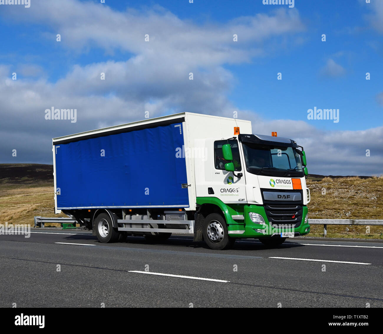 Craggs Environmental HGV. M6 Motorway, Southbound, Shap, Cumbria, England, United Kingdom, Europe. Stock Photo