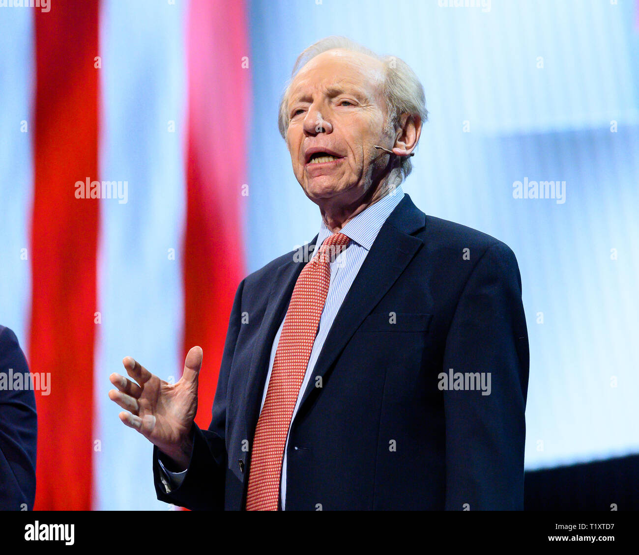 Former U.S. Senator Joe Lieberman (I-CT) seen speaking during the American Israel Public Affairs Committee (AIPAC) Policy Conference in Washington, DC. - Stock Image