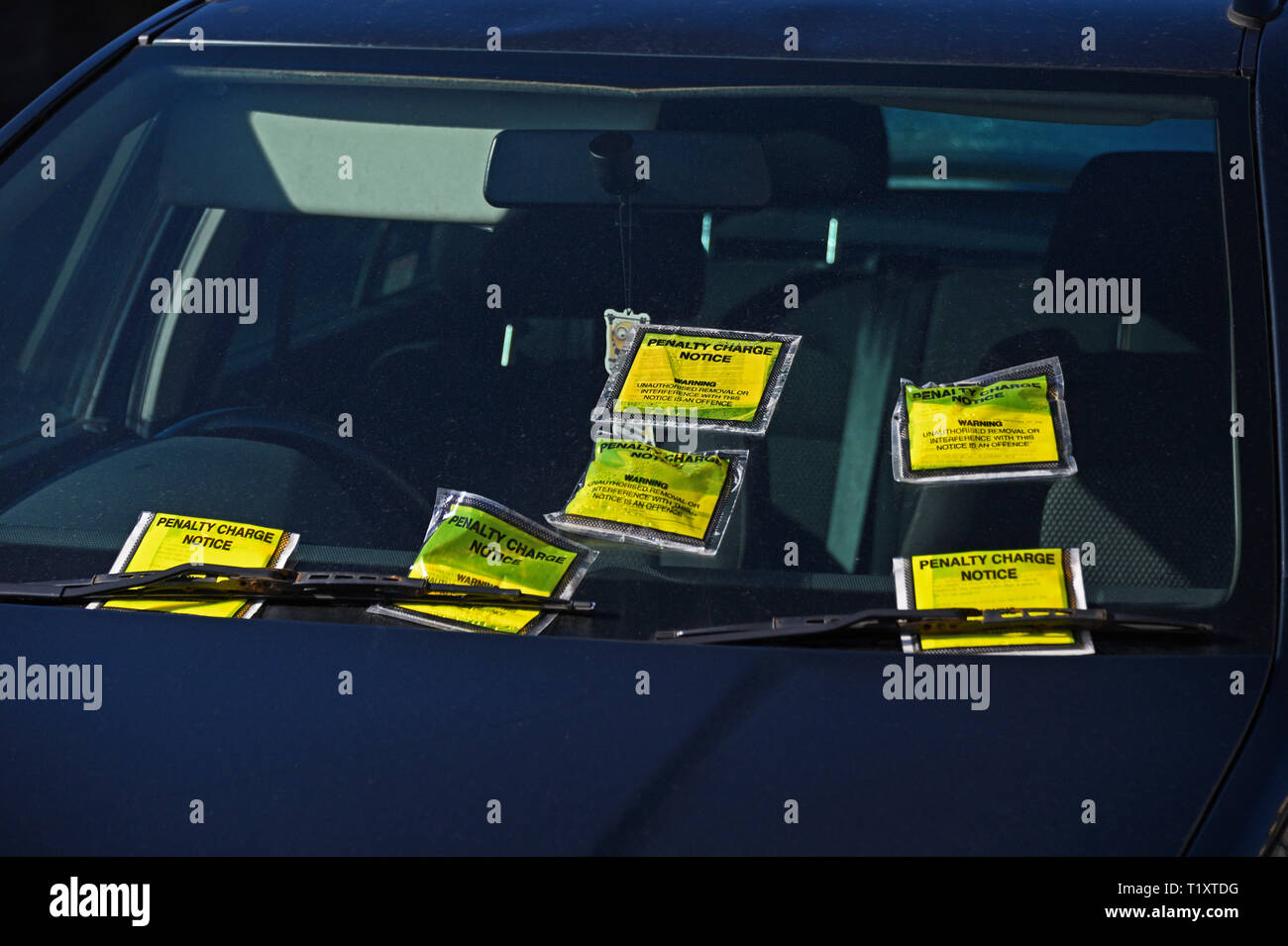 Windscreen of illegally parked car on double-yellow lines with six penalty charge notices. Parkside Road, Kendal, Cumbria, England, United Kingdom, Eu Stock Photo