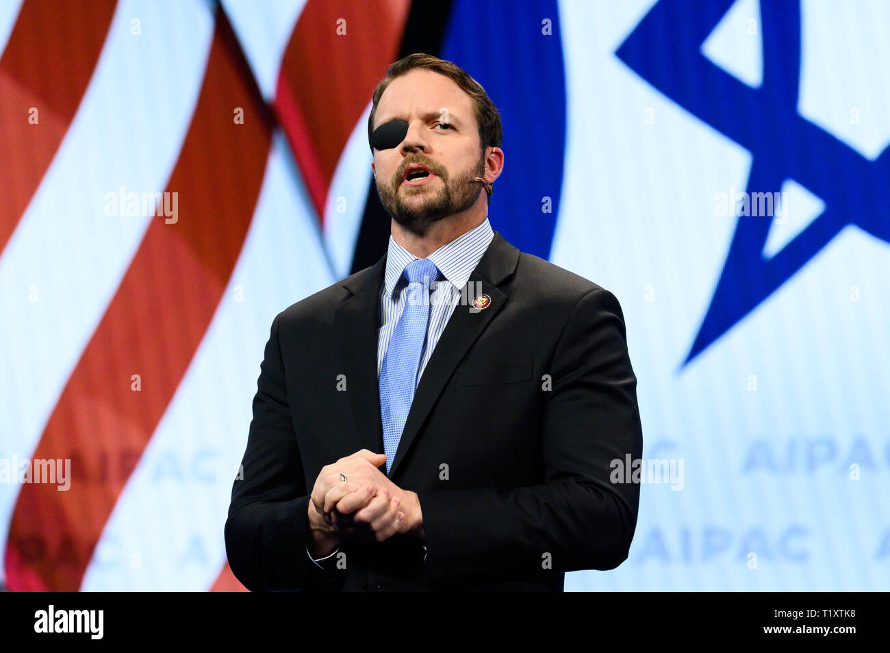 U.S. Representative Dan Crenshaw (R-TX) seen speaking during the American Israel Public Affairs Committee (AIPAC) Policy Conference in Washington, DC. - Stock Image