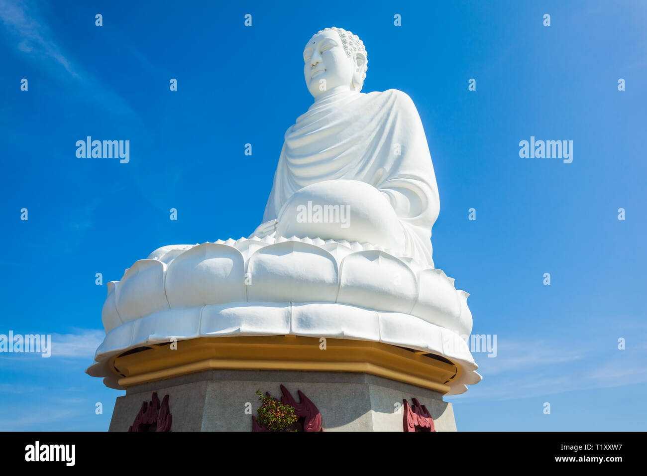 Big Buddha statue at the Long Son Pagoda or Chua Long Son, a Buddhist temple in the city of Nha Trang in south Vietnam Stock Photo